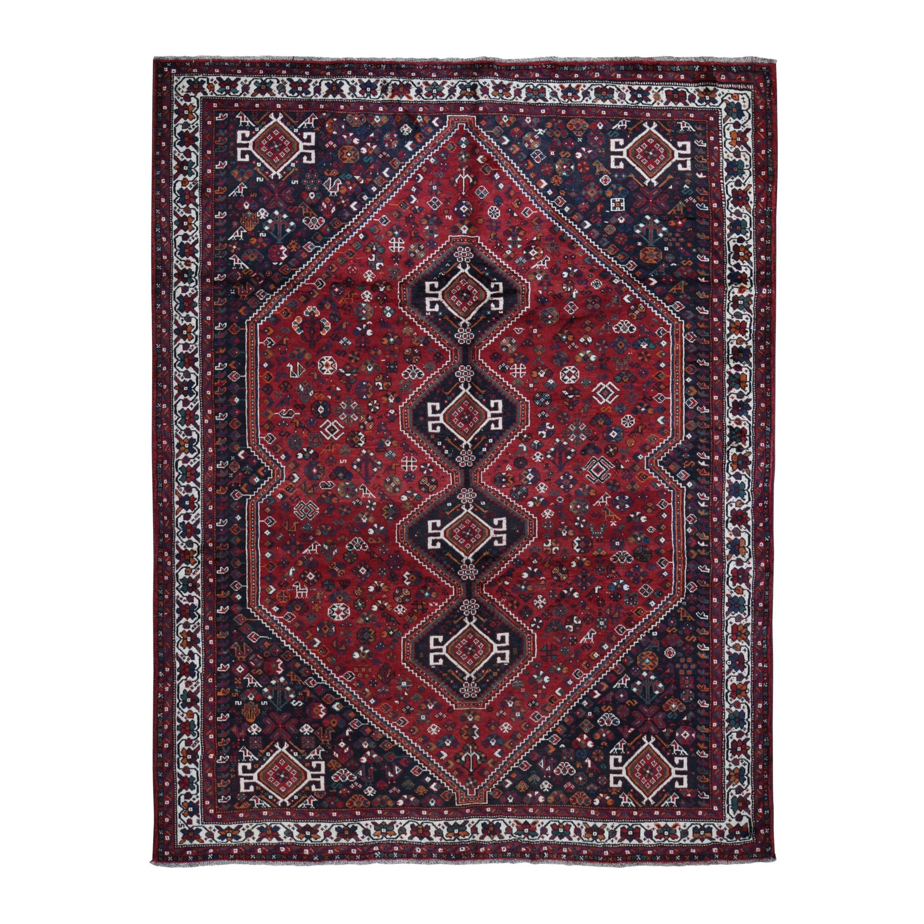 "7'7""x9'8"" Red Semi Antique Persian Shiraz Exc Cond Pure Wool Hand Knotted Oriental Rug"