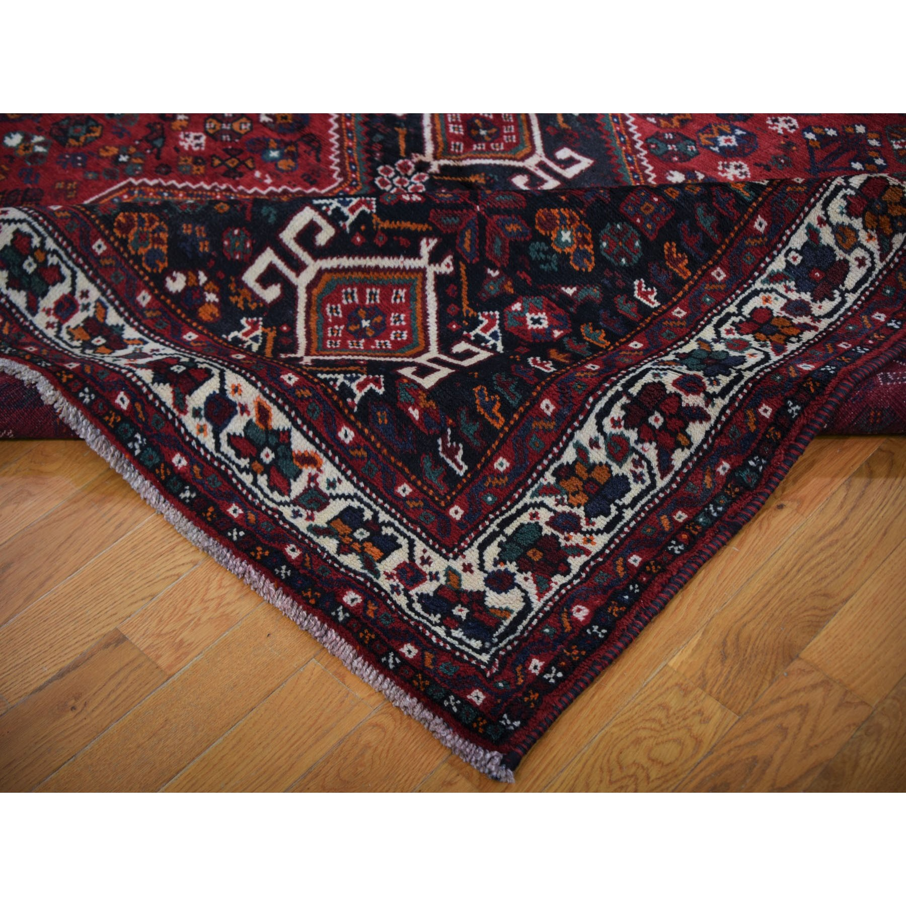 """7'7""""x9'8"""" Red Semi Antique Persian Shiraz Exc Cond Pure Wool Hand Knotted Oriental Rug"""