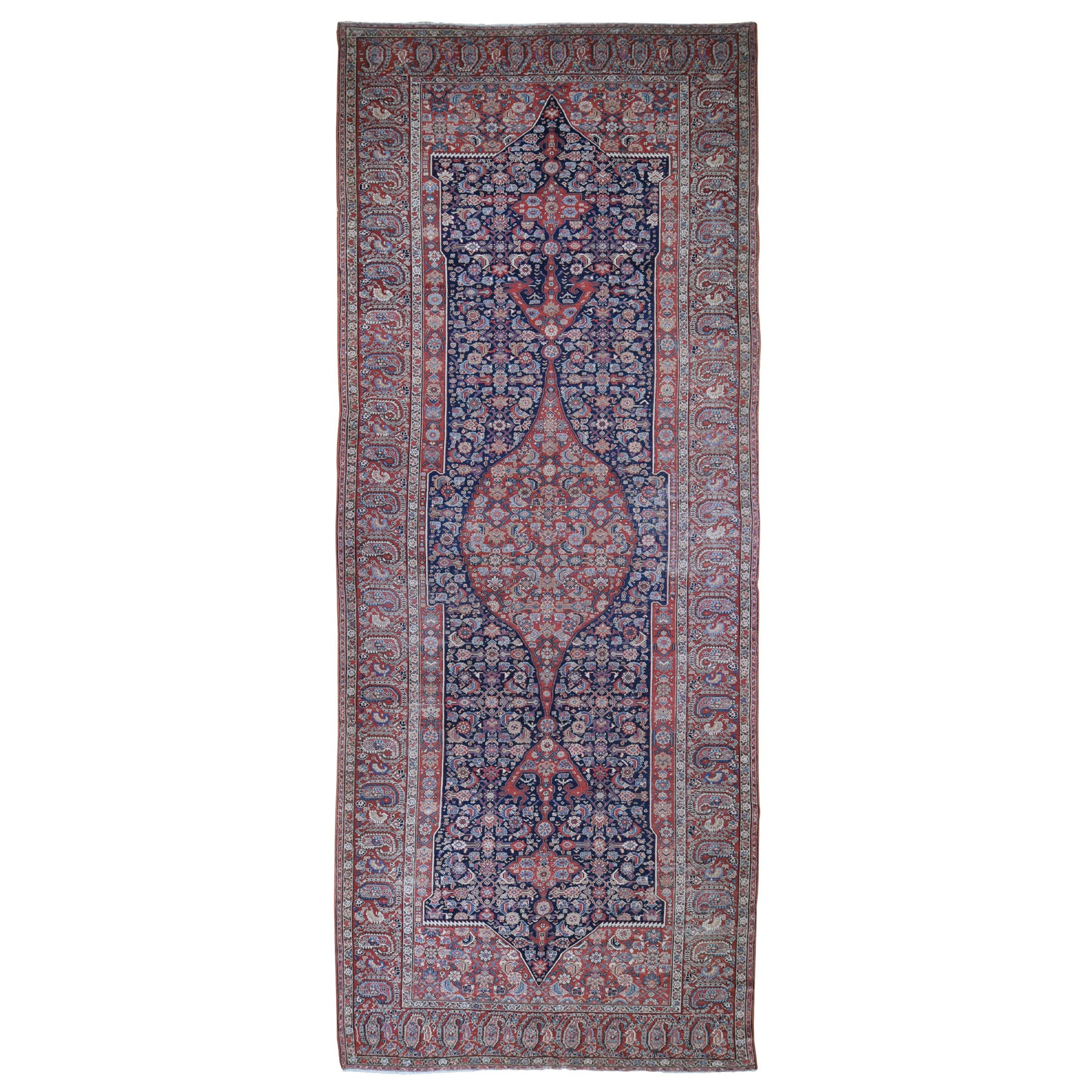 "6'10""X20'9"" Gallery Size Antique Persian Malayer Evern Wear Medallion Design Pure Wool Hand Knotted Rug moad980d"