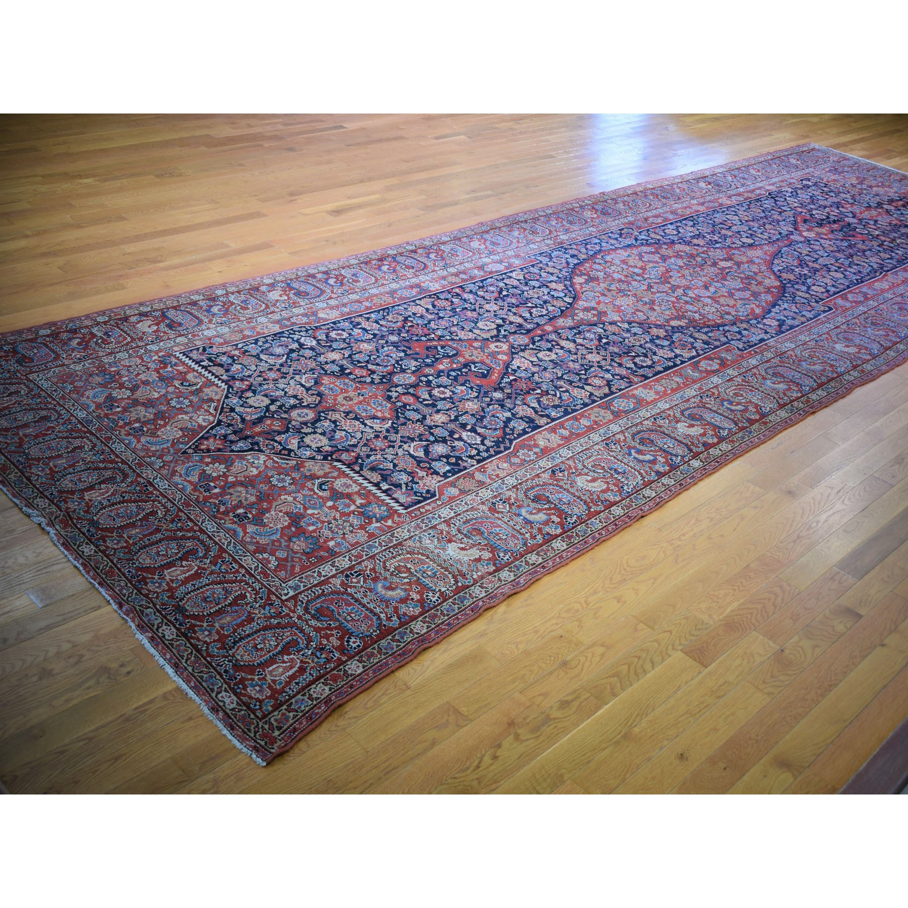 """6'10""""x20'9"""" Gallery Size Antique Persian Malayer Evern Wear Medallion Design Pure Wool Hand Knotted Rug"""