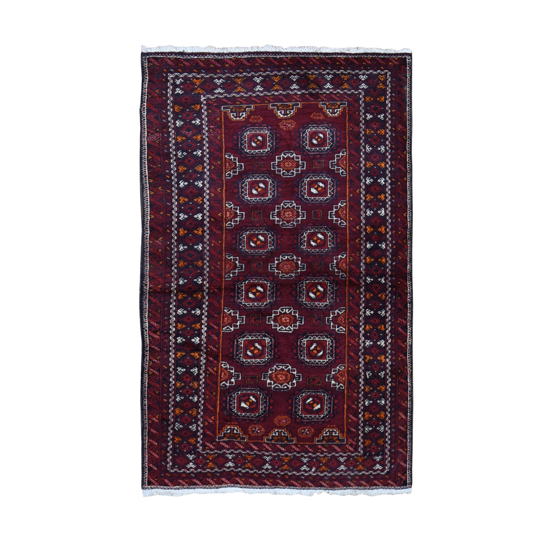 "3'4""x5'10"" Red Vintage Turkoman Gul Motif Pure Wool Hand Knotted Oriental Rug"