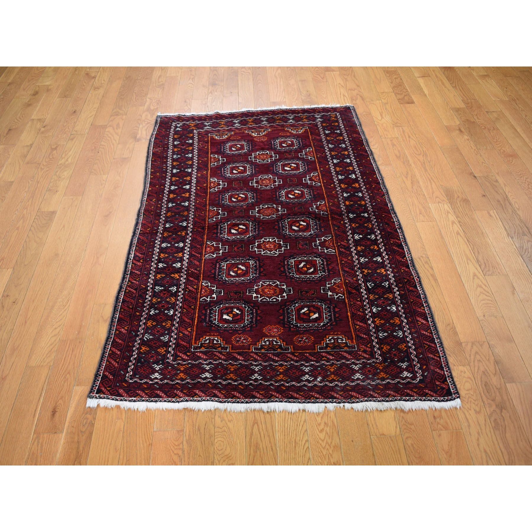 """3'4""""x5'10"""" Red Vintage Turkoman Gul Motif Pure Wool Hand Knotted Oriental Rug"""