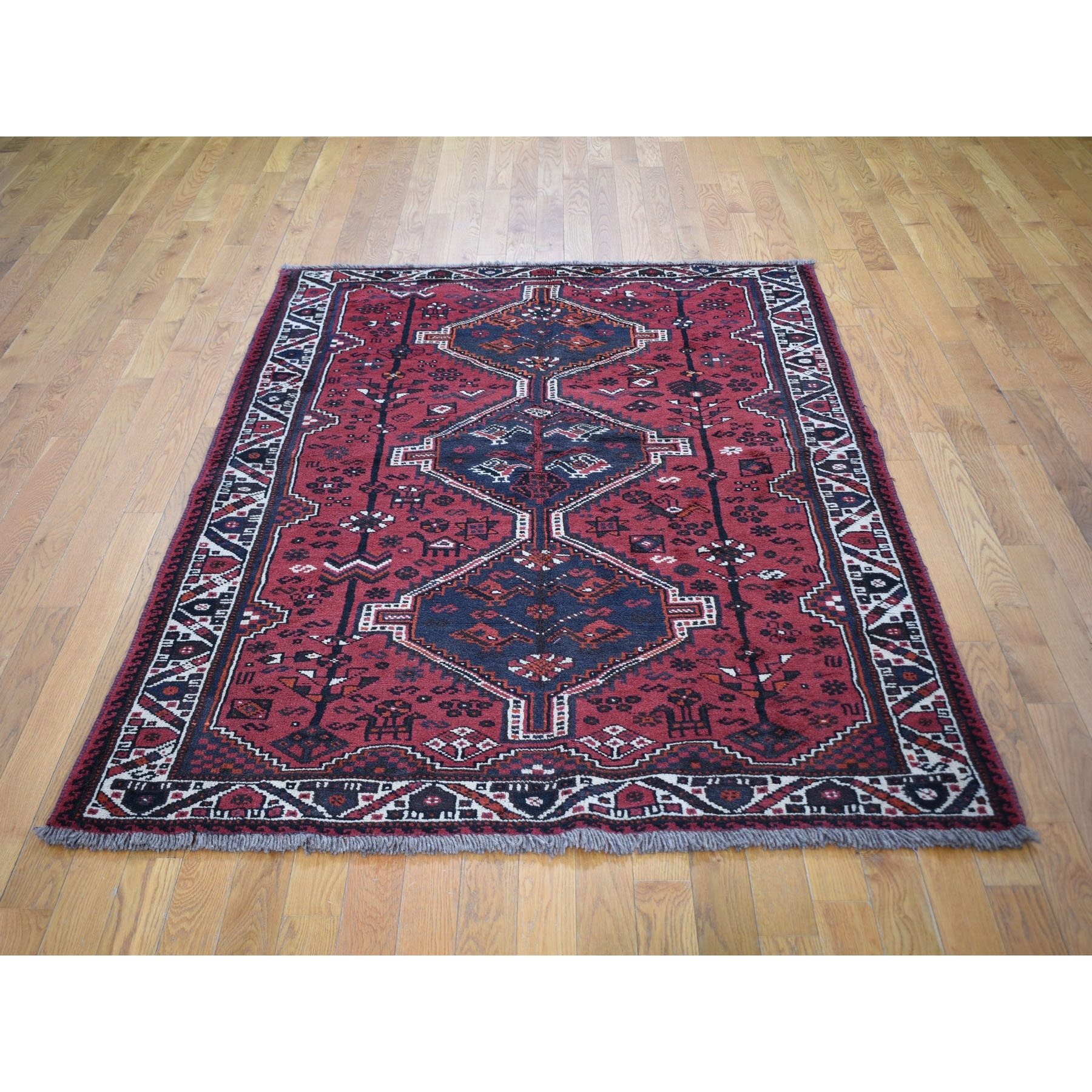 "4'8""x6'10"" Red New Persian Shiraz Full Pile Hand Knotted Oriental Rug"