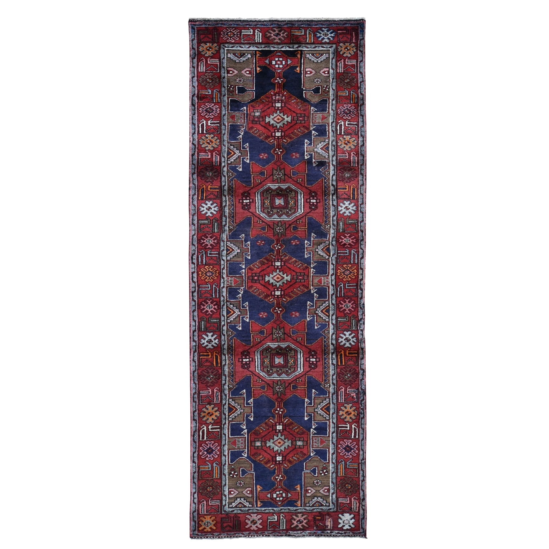 "3'4""x10'2"" Red New Persian Hamadan Geometric Design Runner Pure Wool Oriental Rug"