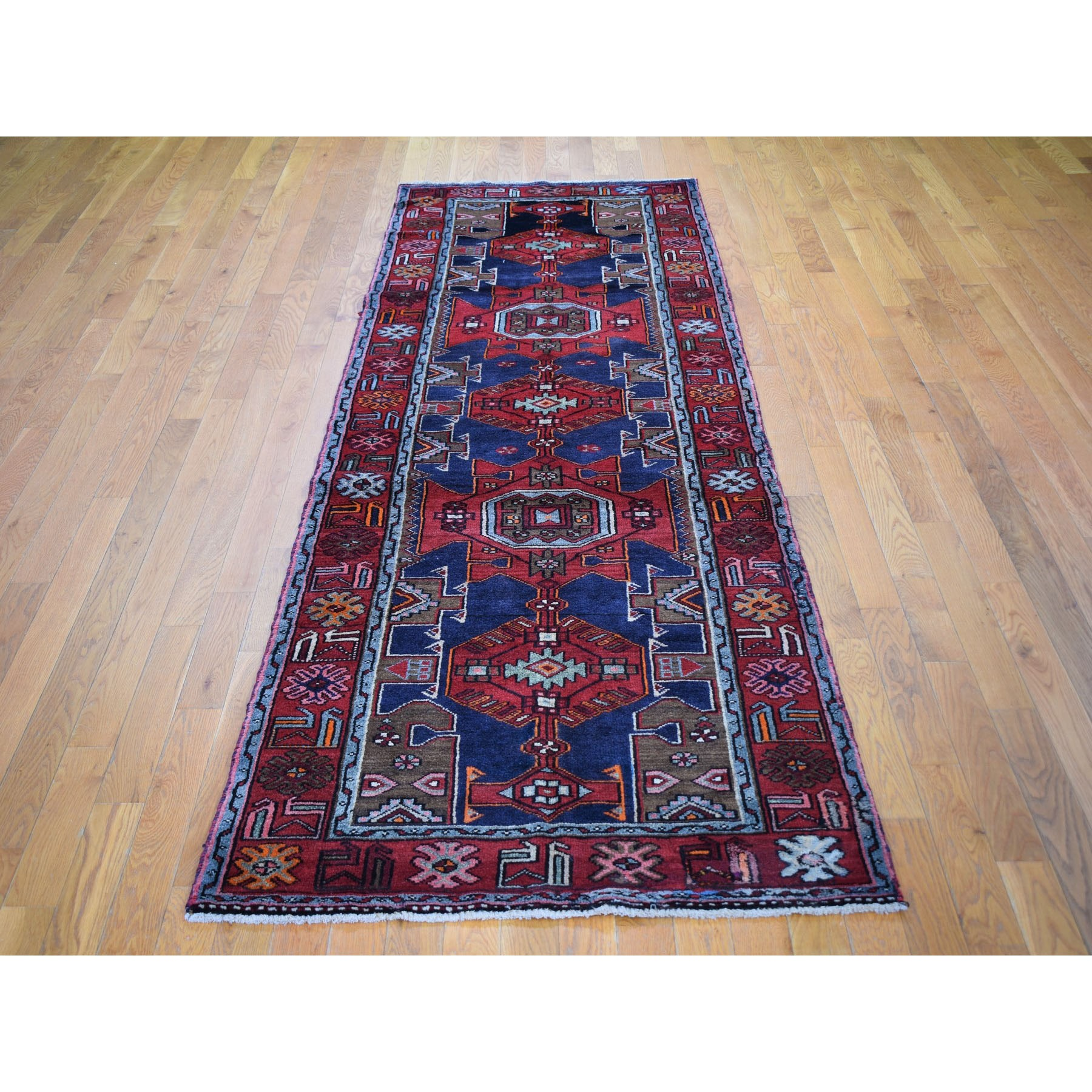 3-4 x10-2  Red New Persian Hamadan Geometric Design Runner Pure Wool Oriental Rug