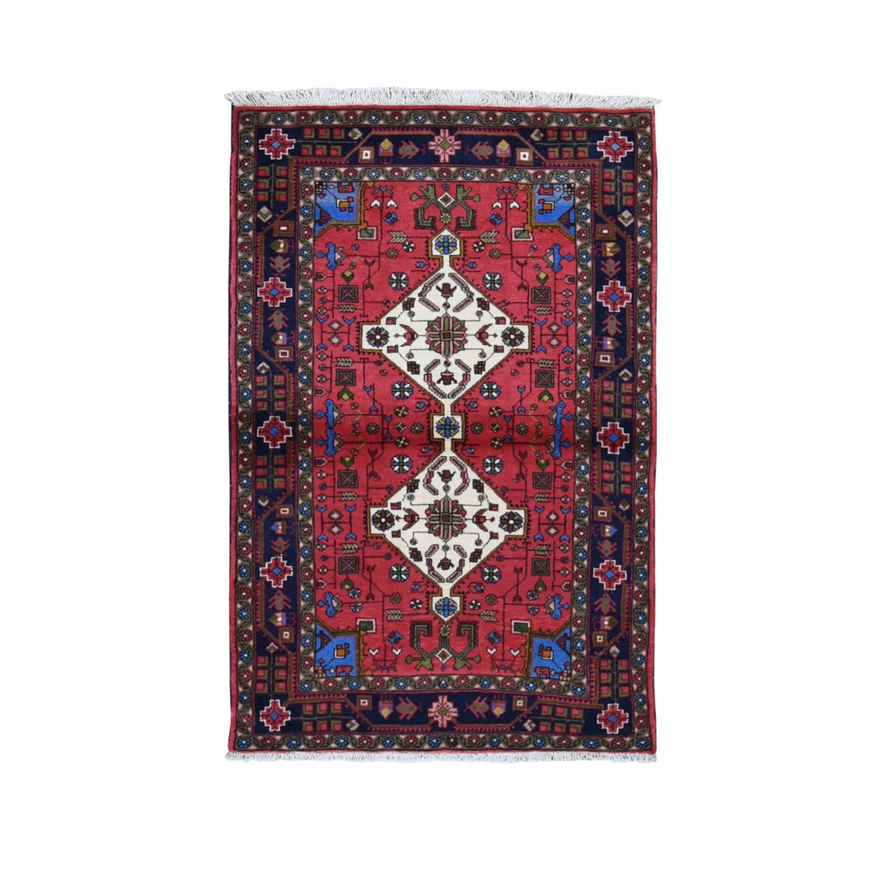 "3'2""X5'2"" Red New Persian Hamadan Geometric Medallion Pure Wool Hand Knotted Oriental Rug moad9809"