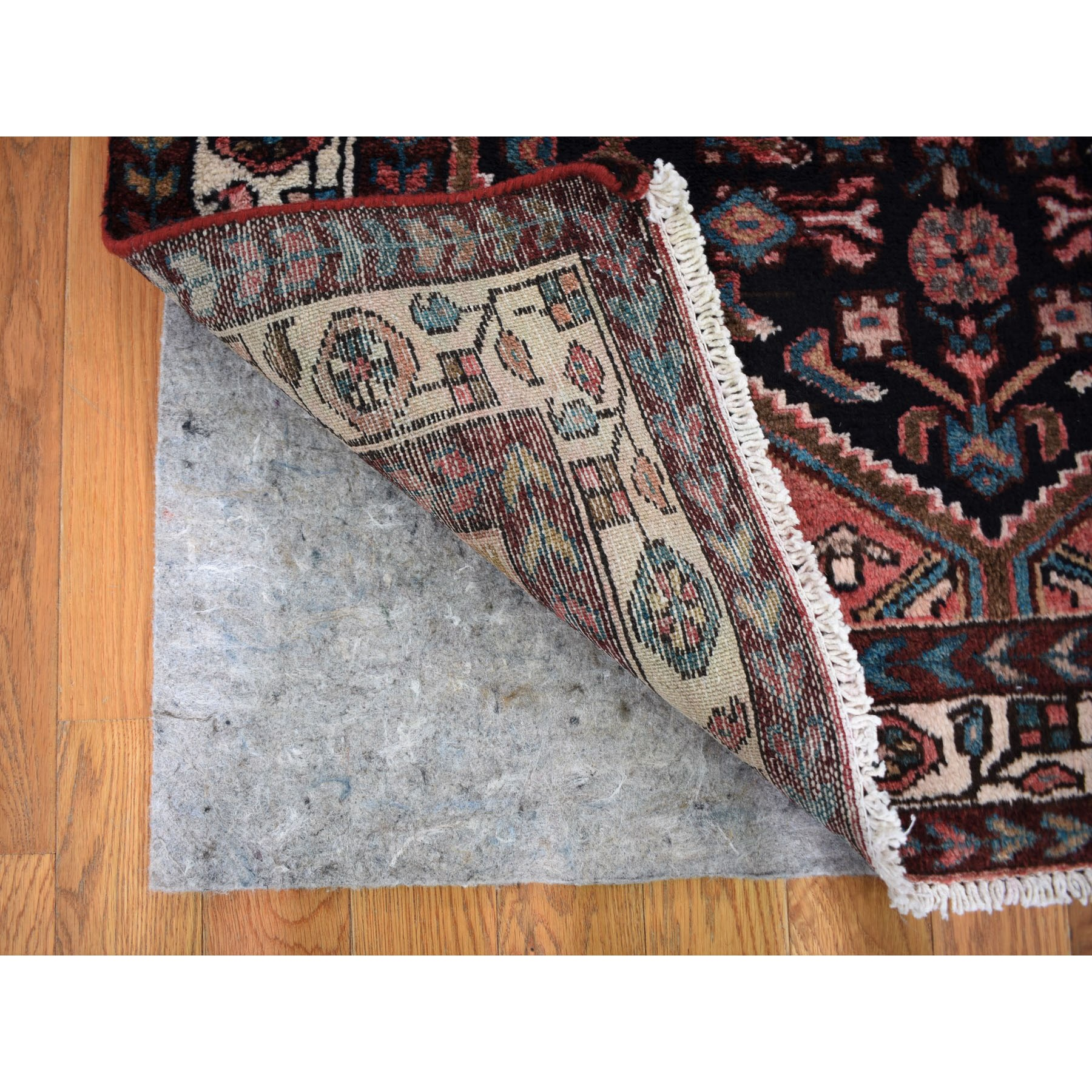 "3'4""x9'9"" Navy Blue New Persian Malayer All over Design Runner Pure Wool Hand Knotted Oriental Rug"