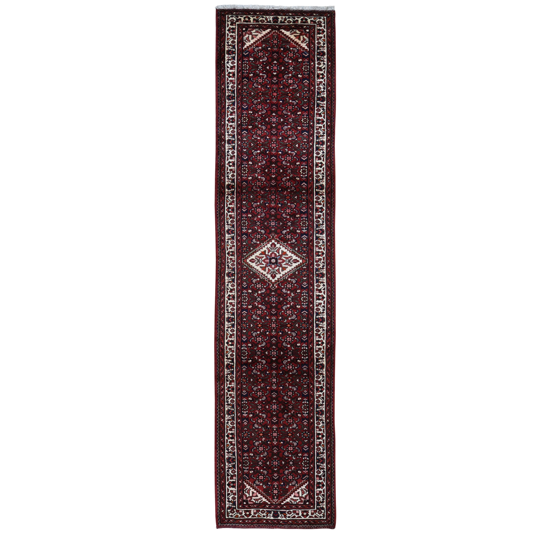 "3'2""x13'10"" Red New Persian Hamadan Fish Design Runner Pure Wool Hand Knotted Oriental Rug"