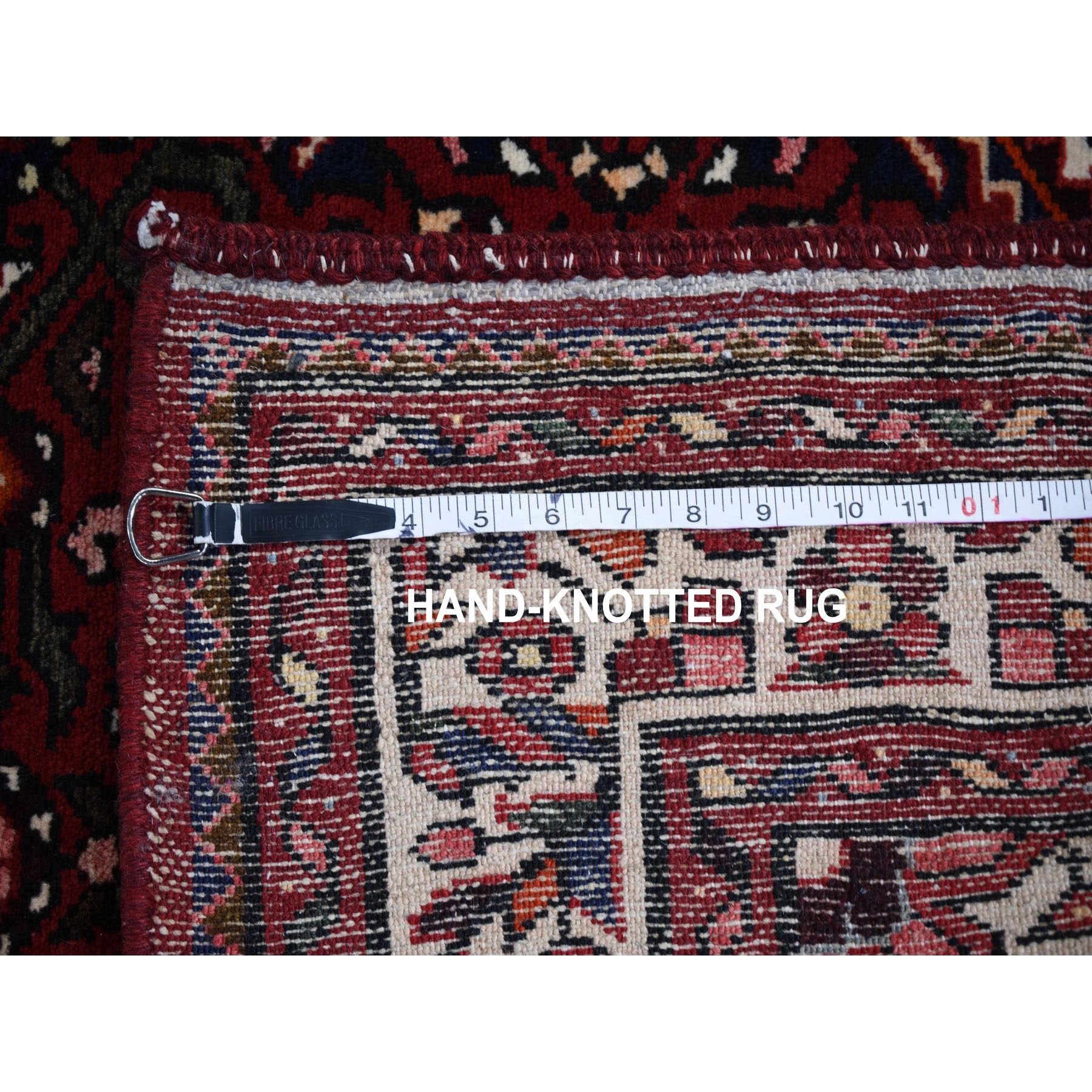 """3'2""""x13'10"""" Red New Persian Hamadan Fish Design Runner Pure Wool Hand Knotted Oriental Rug"""