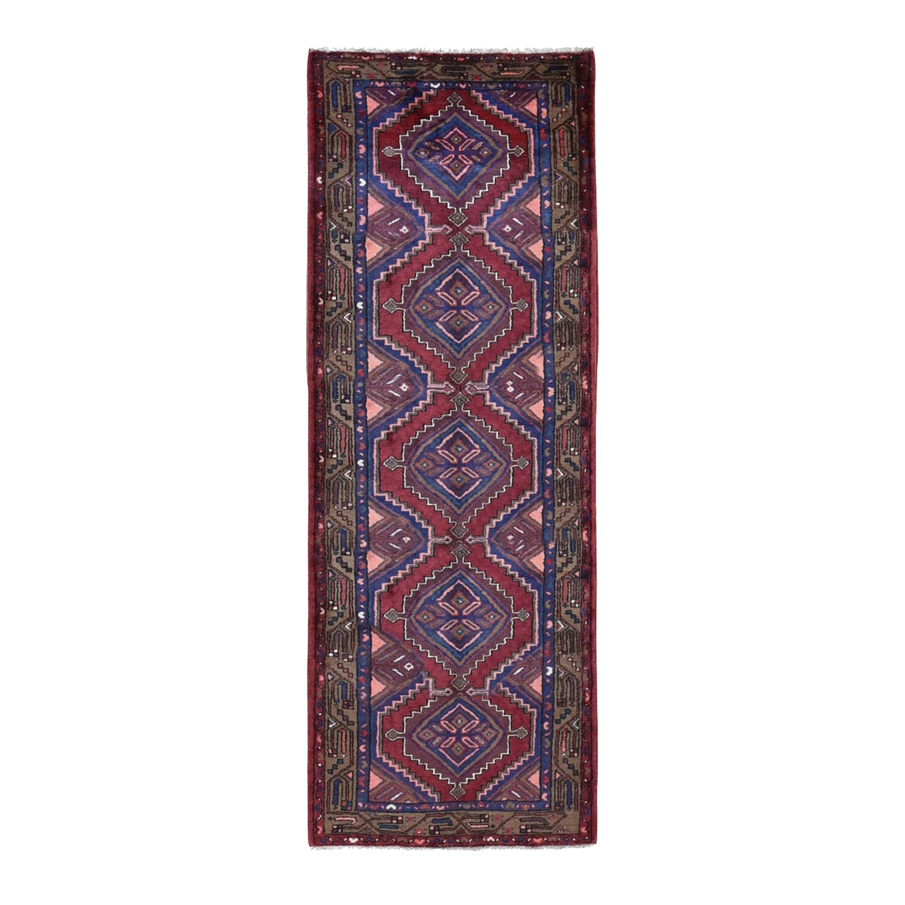 "3'4""x9'5"" Red New Persian Hamadan Geometric Design Pure Wool Hand Knotted Oriental Rug"