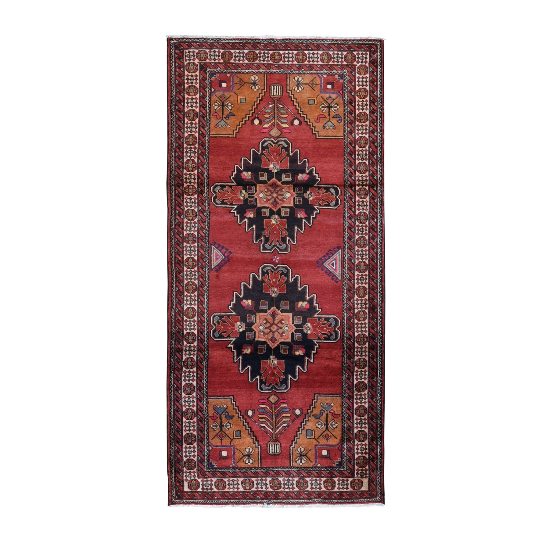 "4'5""x9'5"" Pink Vintage Persian Bakhtiari Wide Runner Pure Wool Hand Knotted Oriental Rug"