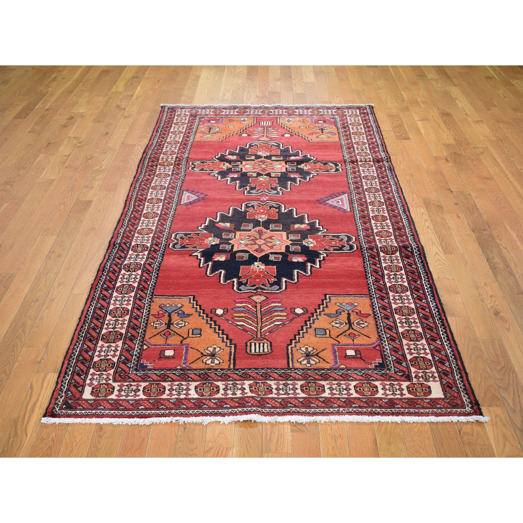 "4'5""x9'5"" Pink Vintage Persian Bakhtiari Wide Runner Pure Wool Hand Knotted Oriental Rug"