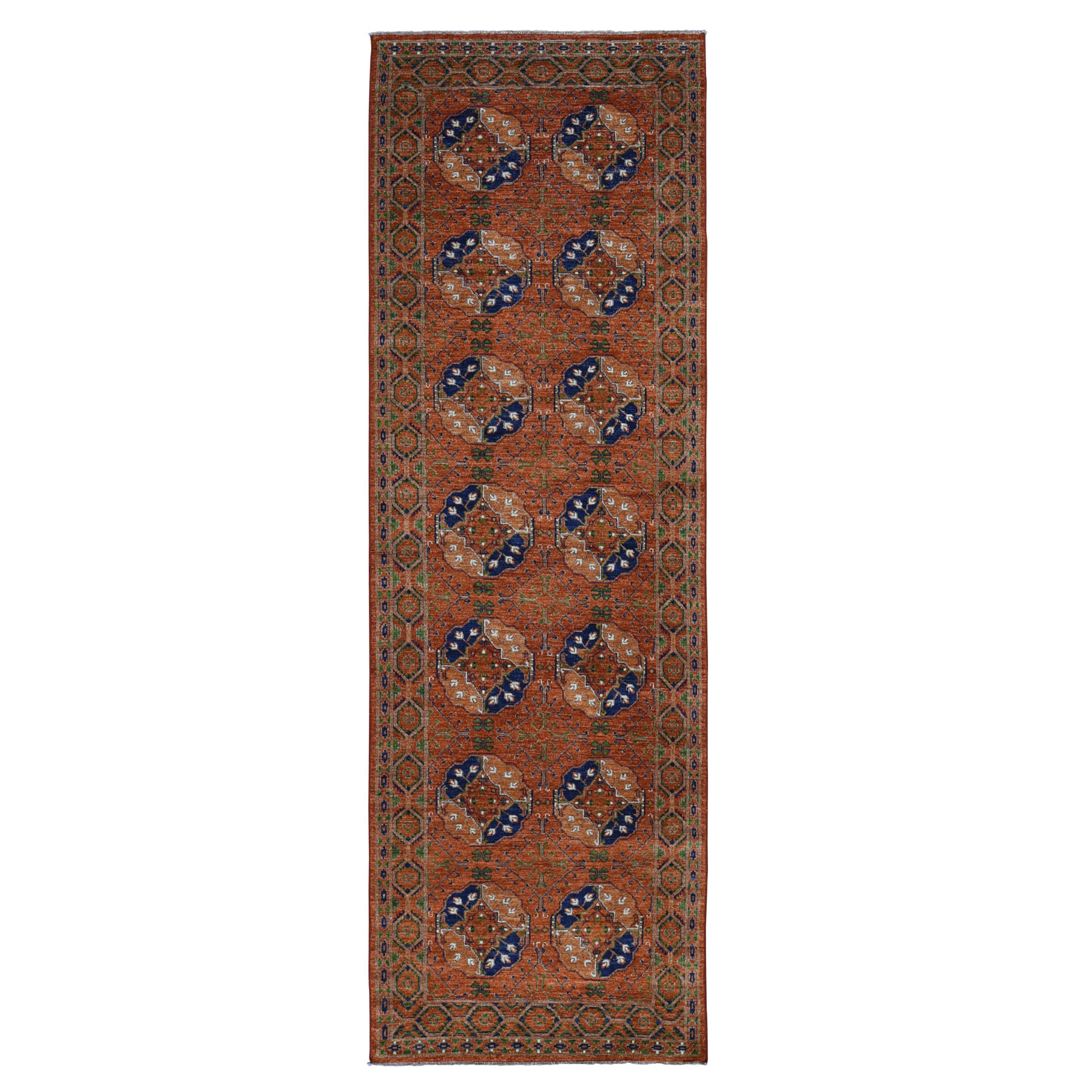 "4'1""x12'7"" Afghan Ersari Elephant Feet Design Hand Knotted Wide Runner Oriental Rug"