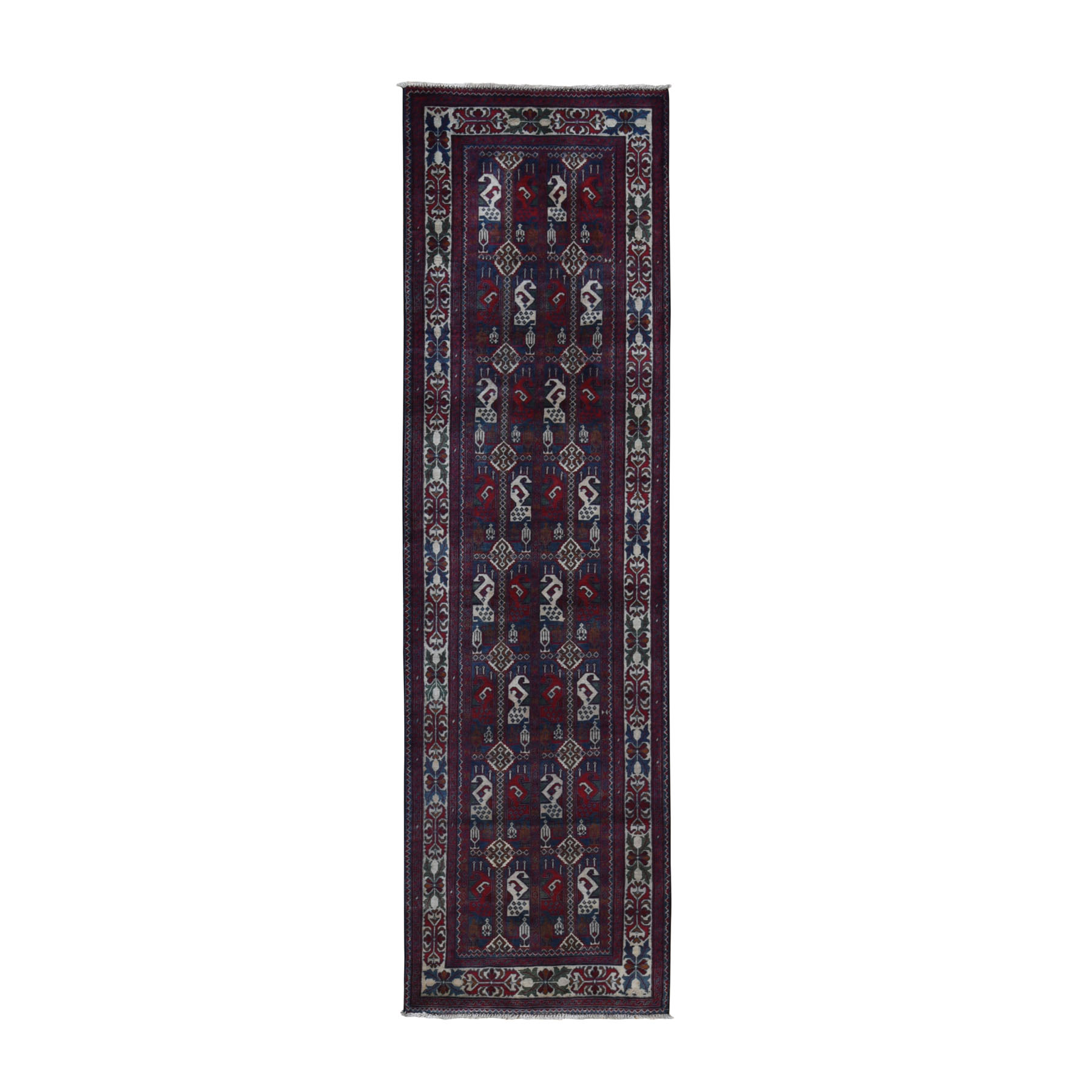 "2'6""x9'4"" Blue Afghan Khamyab Geometric Motif Runner Pure Wool Hand Knotted Oriental Rug"