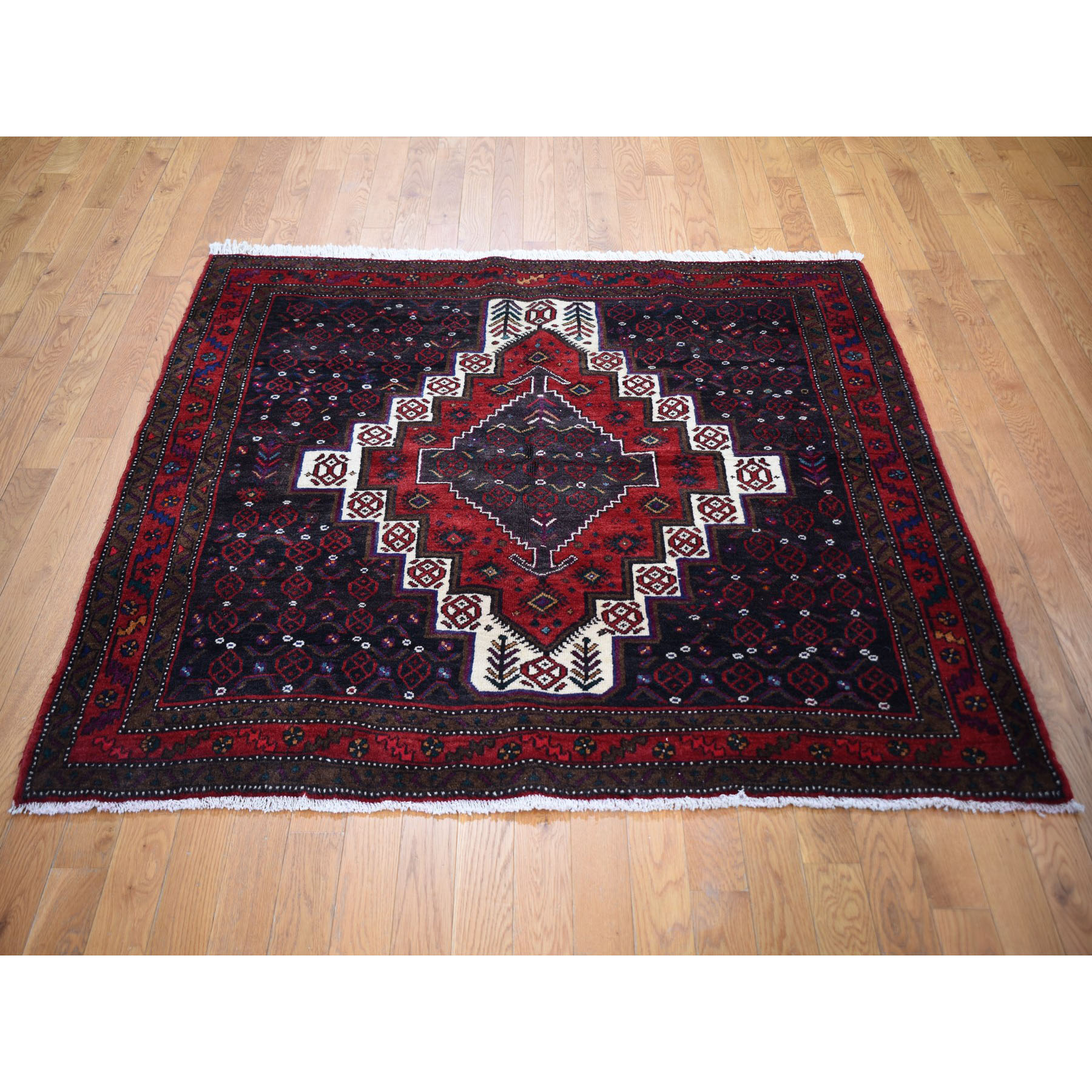 """5'3""""x5'3"""" Navy Blue Square Vintage Persian Senneh Bijar Pure Wool Hand Knotted Oriental Rug"""