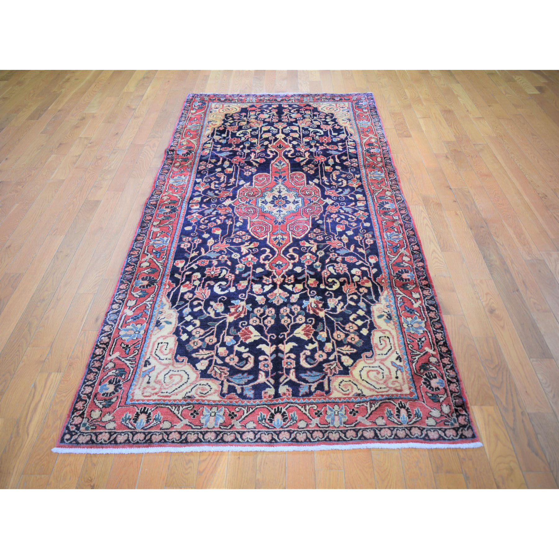 "4'2""x10'6"" Navy Vintage Persian Sarouk Wide Runner Pure Wool Hand Knotted Oriental Rug"