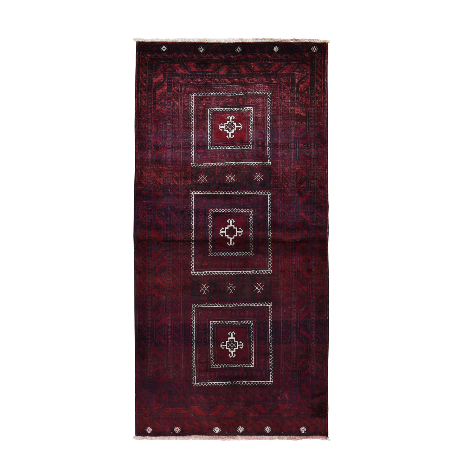 """4'X9'7"""" Red Vintage Persian Baluch Velvety Wool Wide Runner Hand Knotted Oriental Rug moad98bd"""