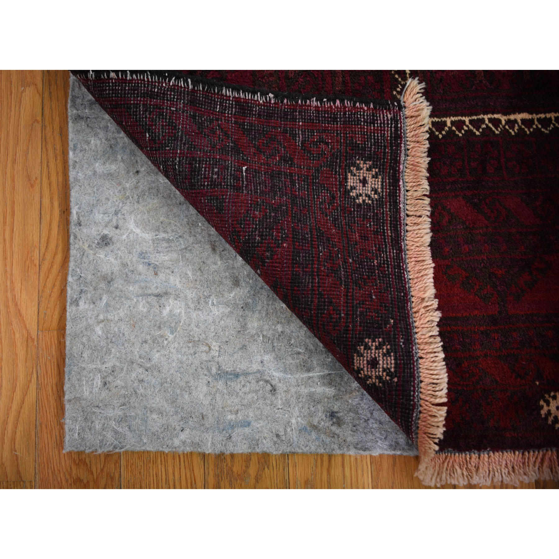 "4'x9'7"" Red Vintage Persian Baluch Velvety Wool Wide Runner Hand Knotted Oriental Rug"