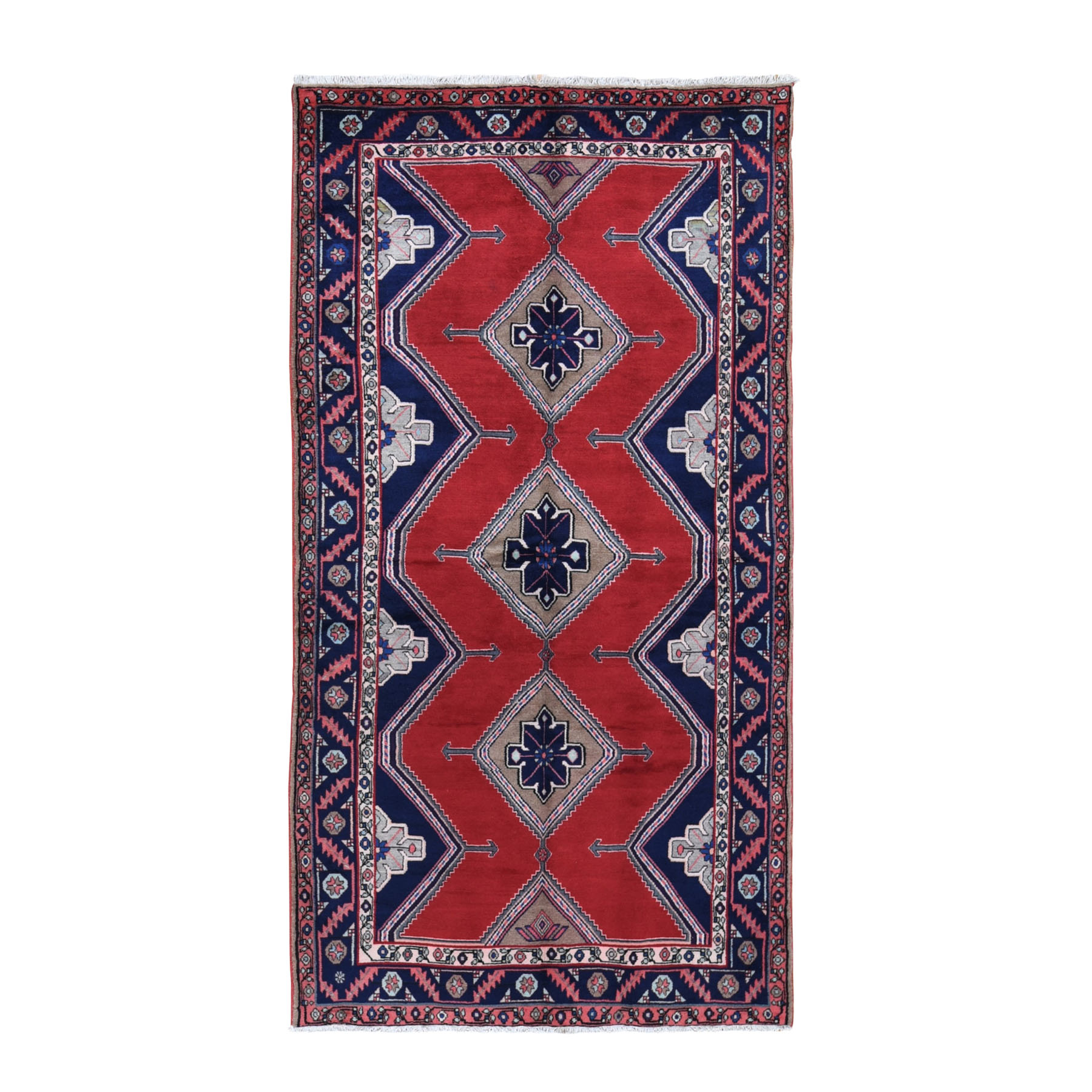 "5'2""x9'7"" Gallery Size Red Vintage Persian Hamadan Full Pile Pure Wool Hand Knotted Oriental Rug"