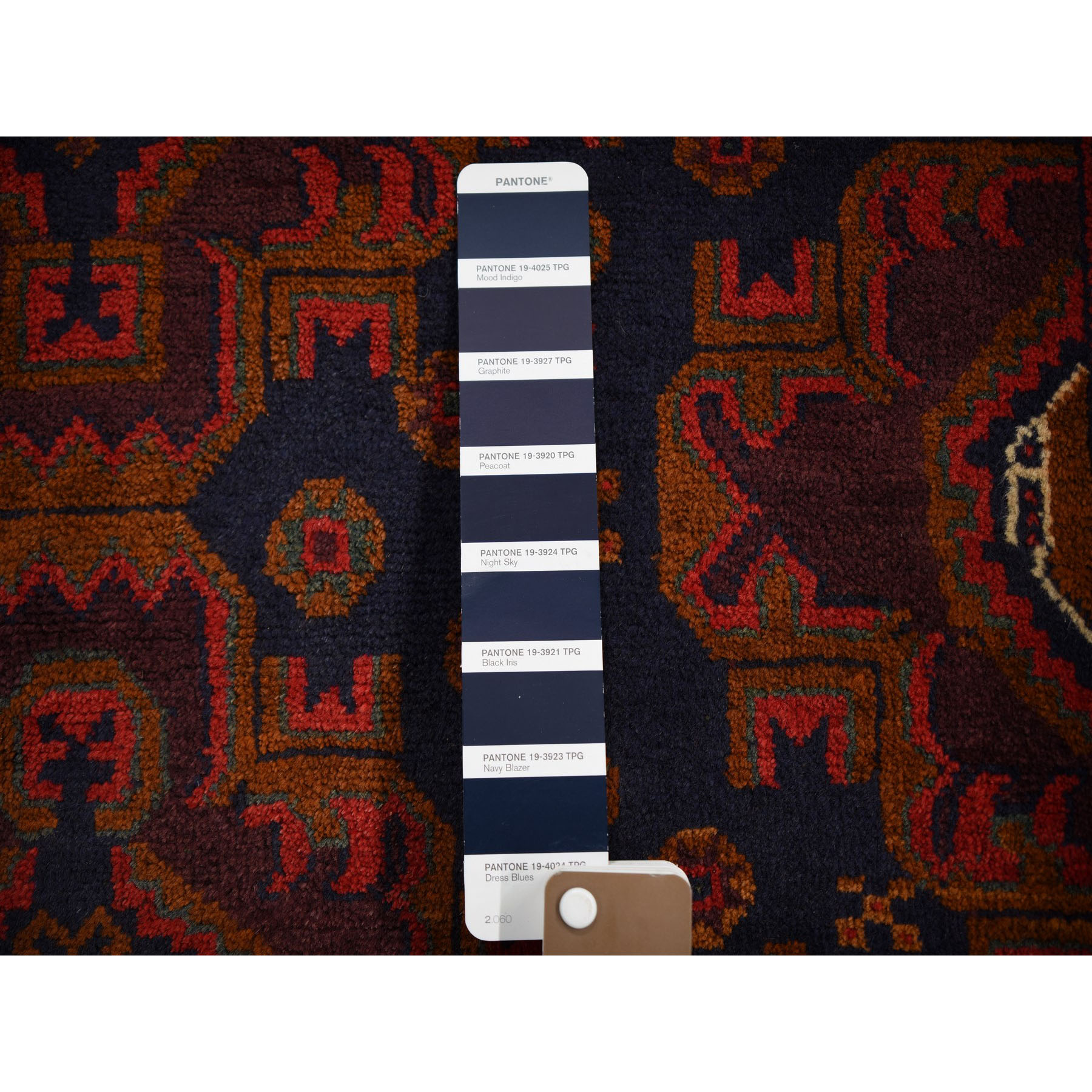 3-9 x6-6  Navy Afghan Baluch Geometric Design Pure Wool Hand Knotted Oriental Rug