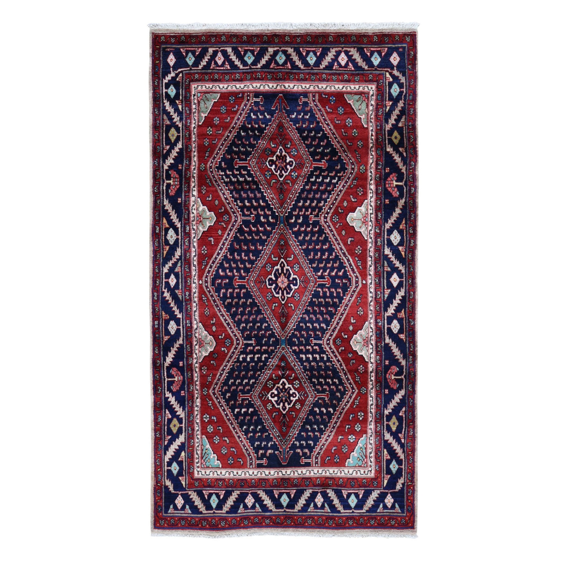 "5'1""x9'7"" Red New Persian Oriental Rug With Camel Hair Pure Wool Hand Knotted Geometric Motif Rug"