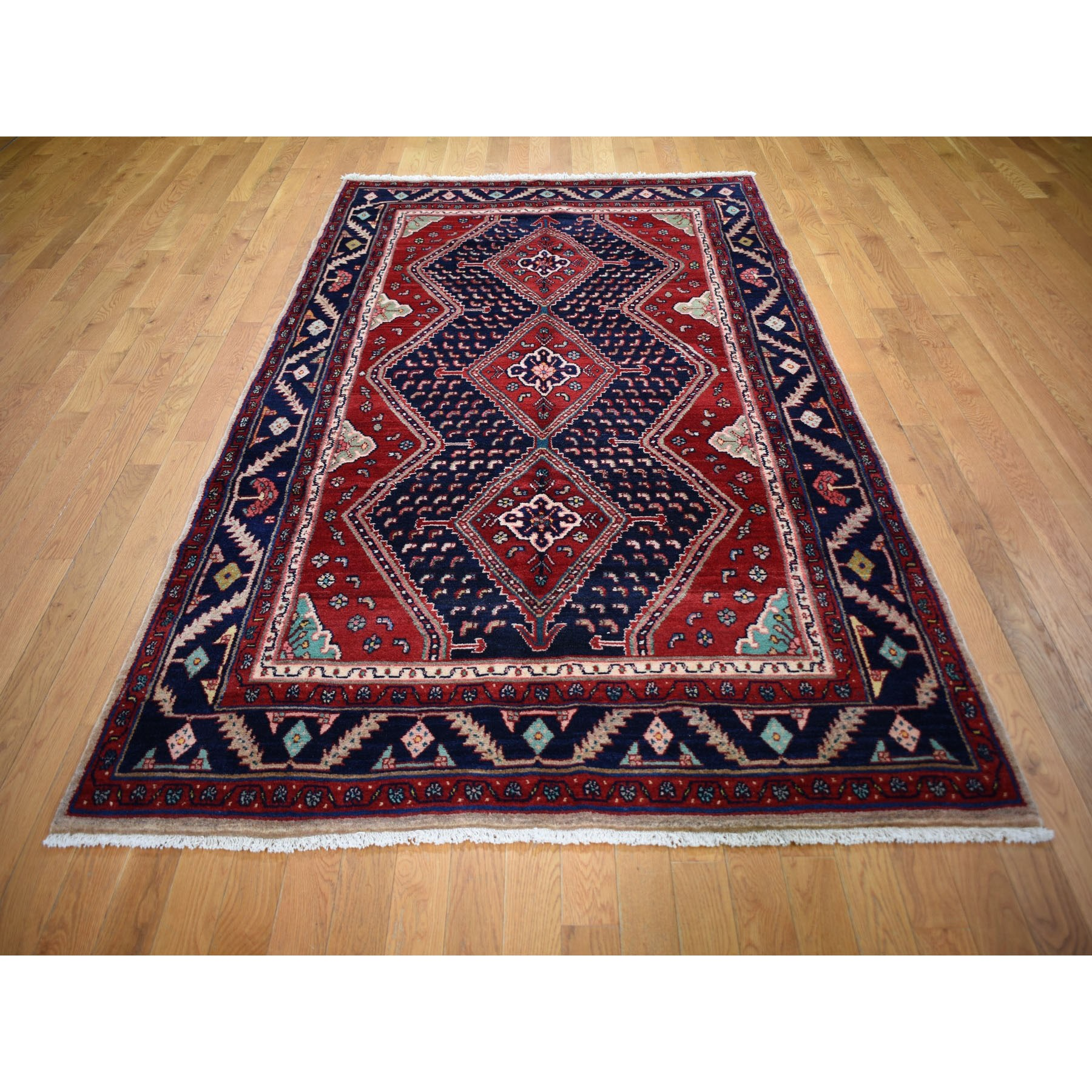 """5'1""""x9'7"""" Red New Persian Oriental Rug With Camel Hair Pure Wool Hand Knotted Geometric Motif Rug"""