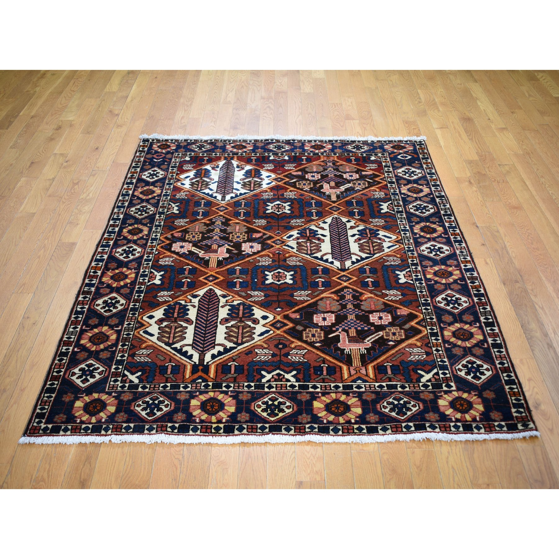 """5'2""""x6'8"""" Red New Persian Bakhtiar Pure Wool Hand Knotted Oriental Rug"""