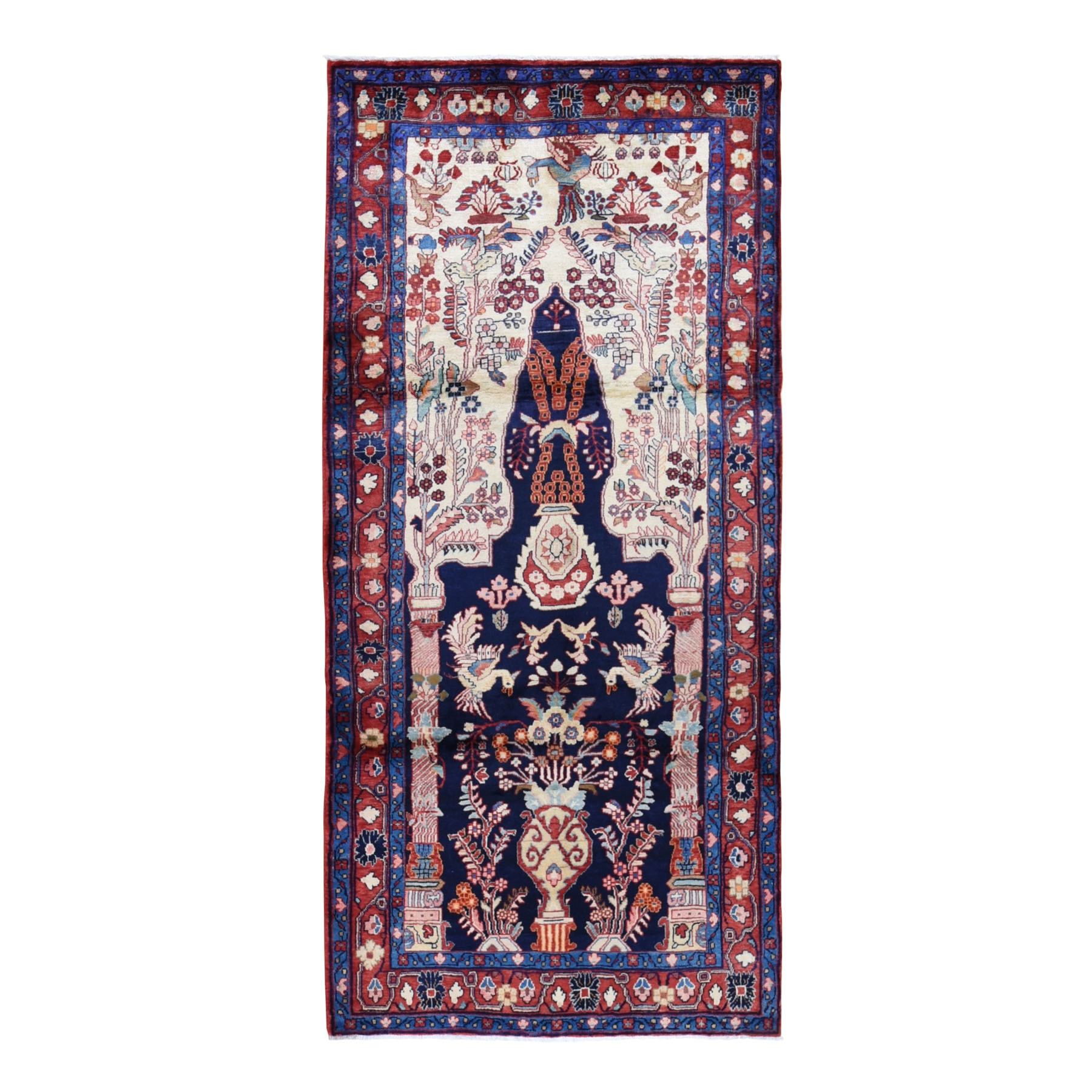 """4'4""""X9'8"""" Vintage Persian Nahavand Vase Design Full Pile Clean Pure Wool Hand Knotted Oriental Rug moad98ca"""