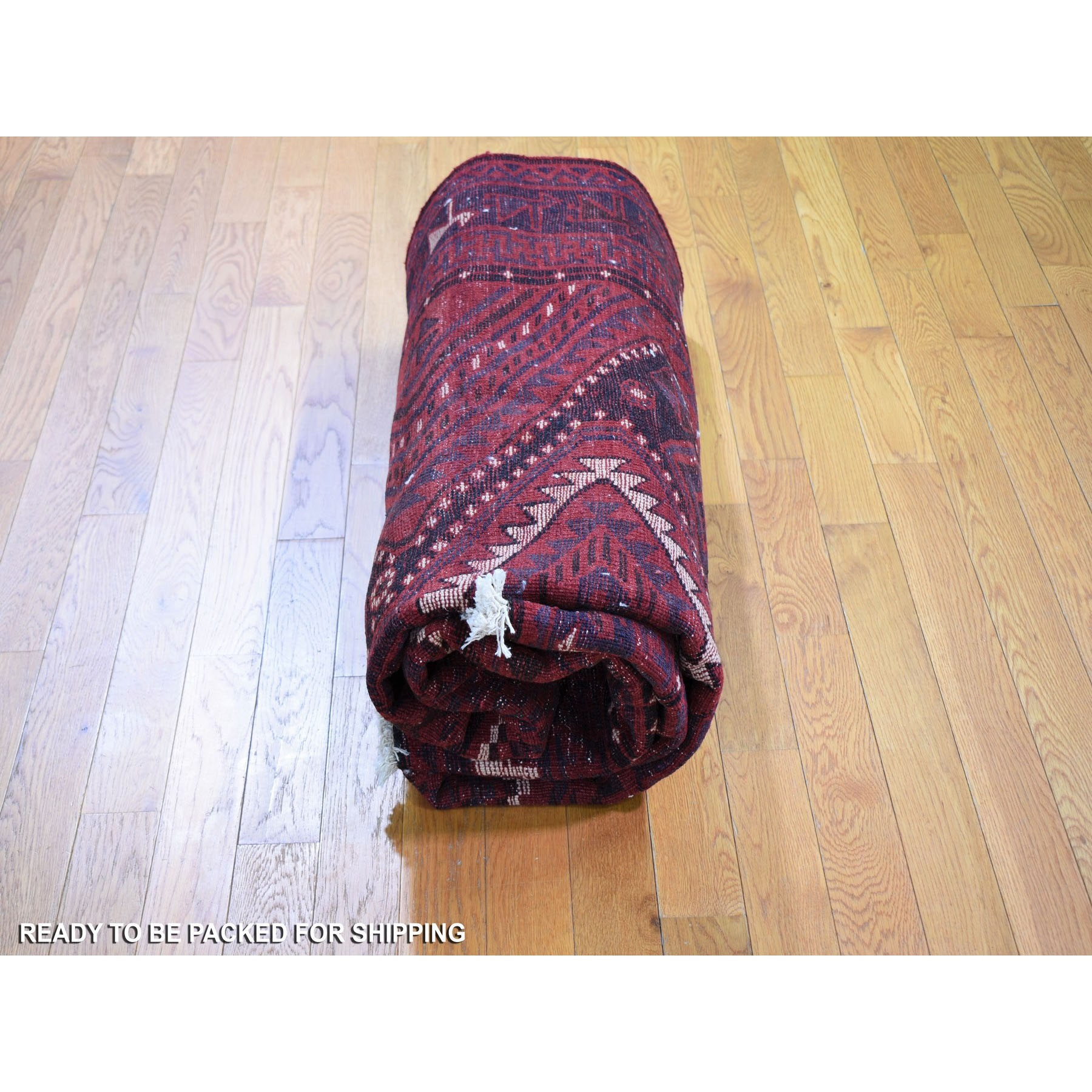 """6'1""""x8'3"""" Red New Persian Baluch Full Pile Pure Wool Hand Knotted Oriental Rug"""