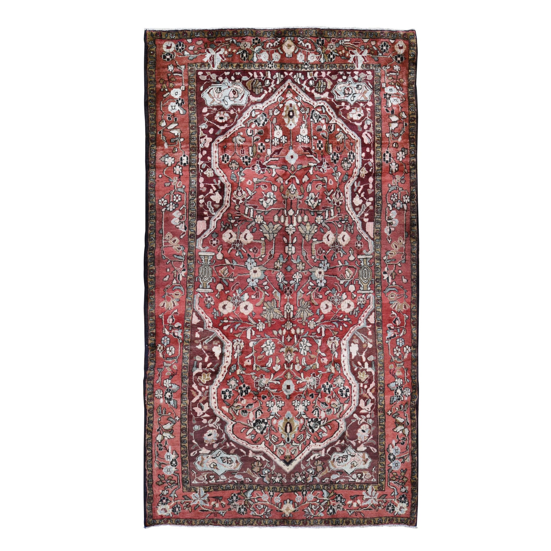 "5'8""x10'5"" Red Gallery Size Vintage Persian Mahal Full Pile Exc Cond Pure Wool Hand Knotted Oriental Rug"