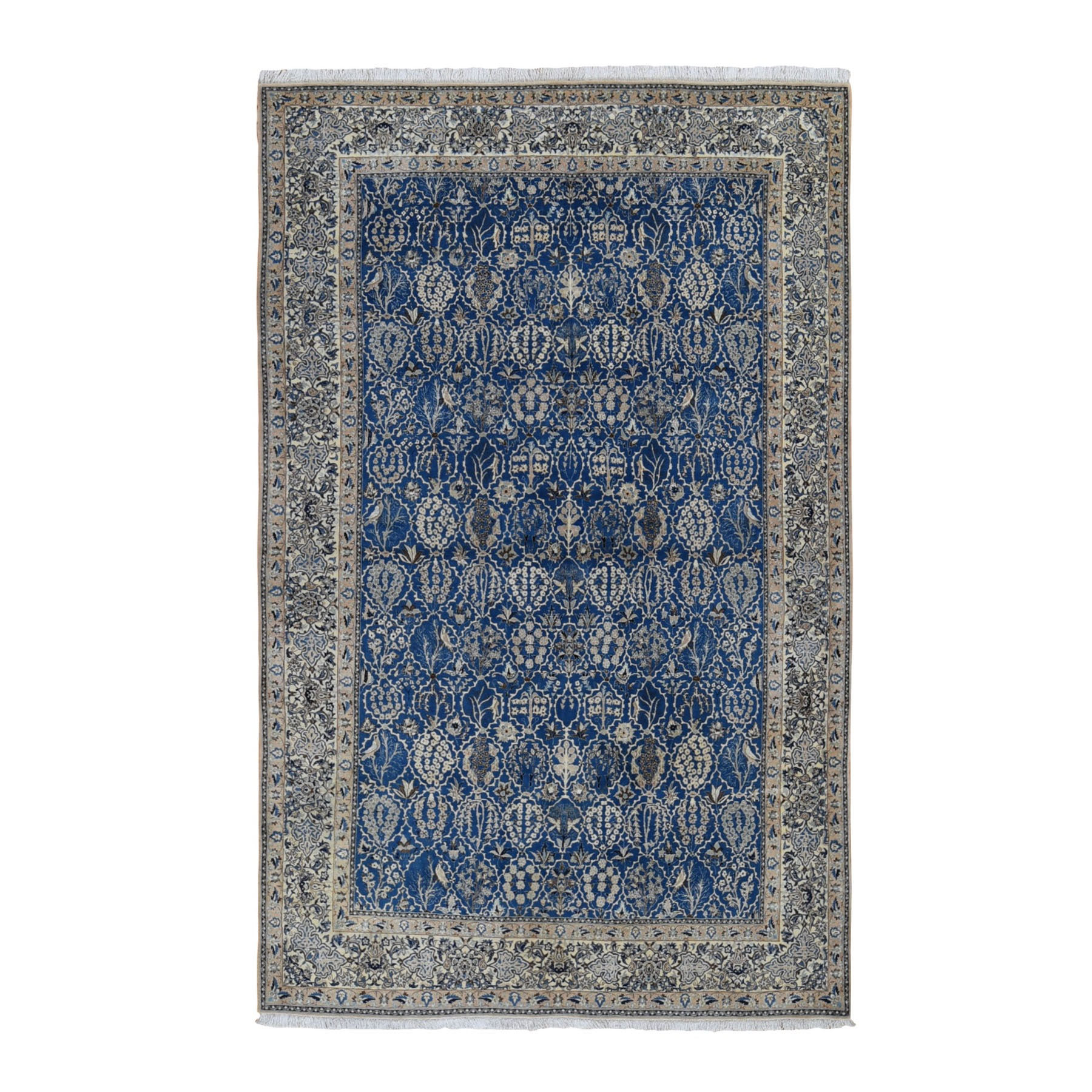 "5'5""x8'9"" Denim Blue Vintage Persian Nain 400 KPSI Exc Cond Pure Wool Hand Knotted Oriental Rug"