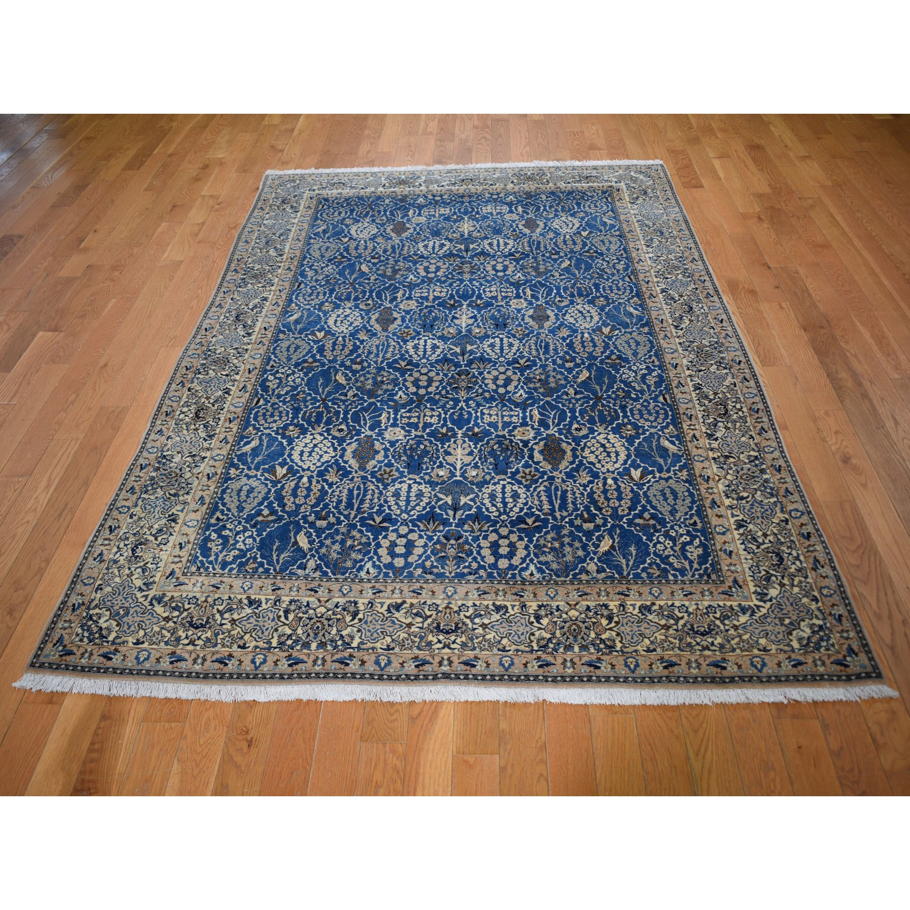 """5'5""""x8'9"""" Denim Blue Vintage Persian Nain 400 KPSI Exc Cond Pure Wool Hand Knotted Oriental Rug"""
