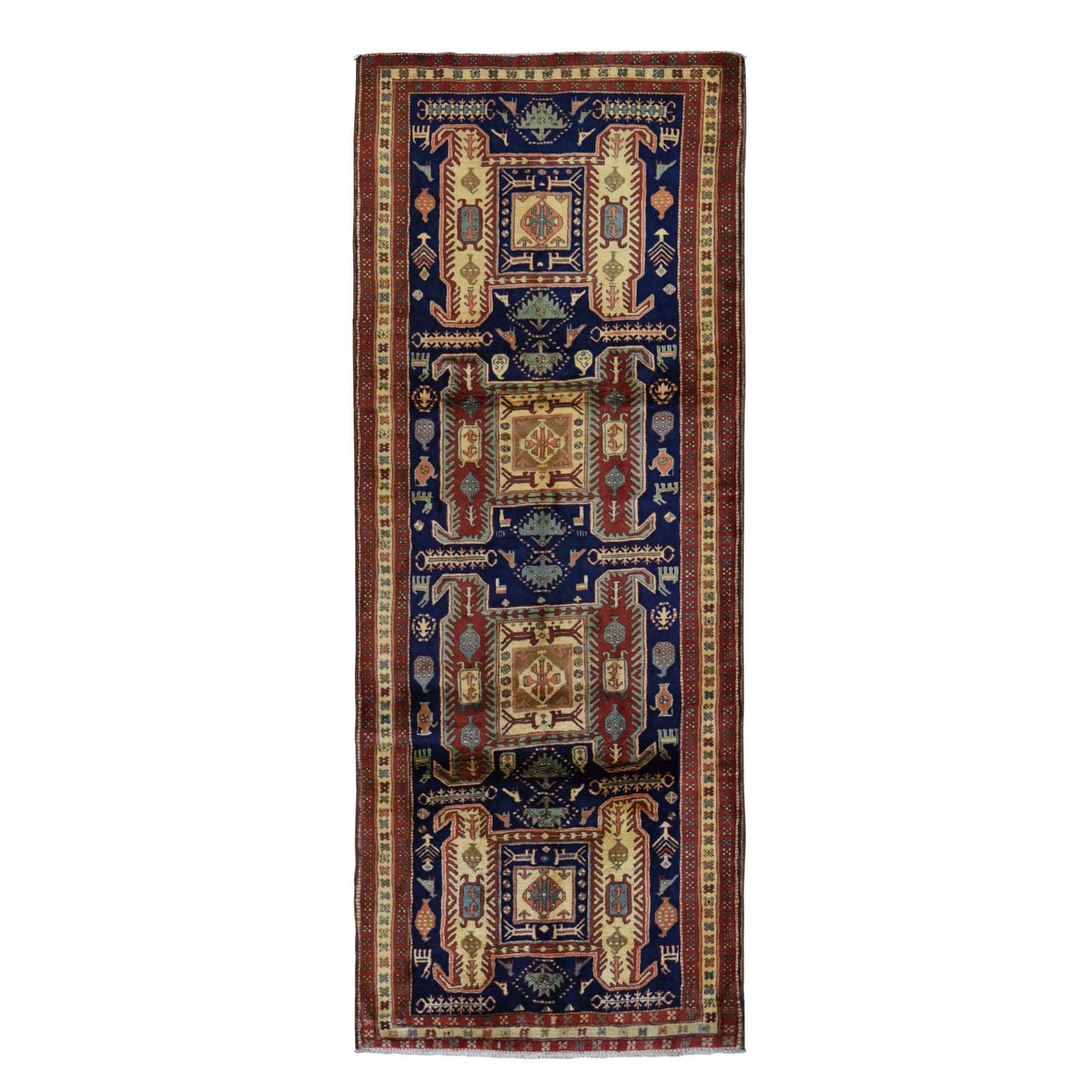 "4'3""x10'9"" Gallery Size Navy North West Persian With Large elements And Birds Pure Wool Oriental Rug"