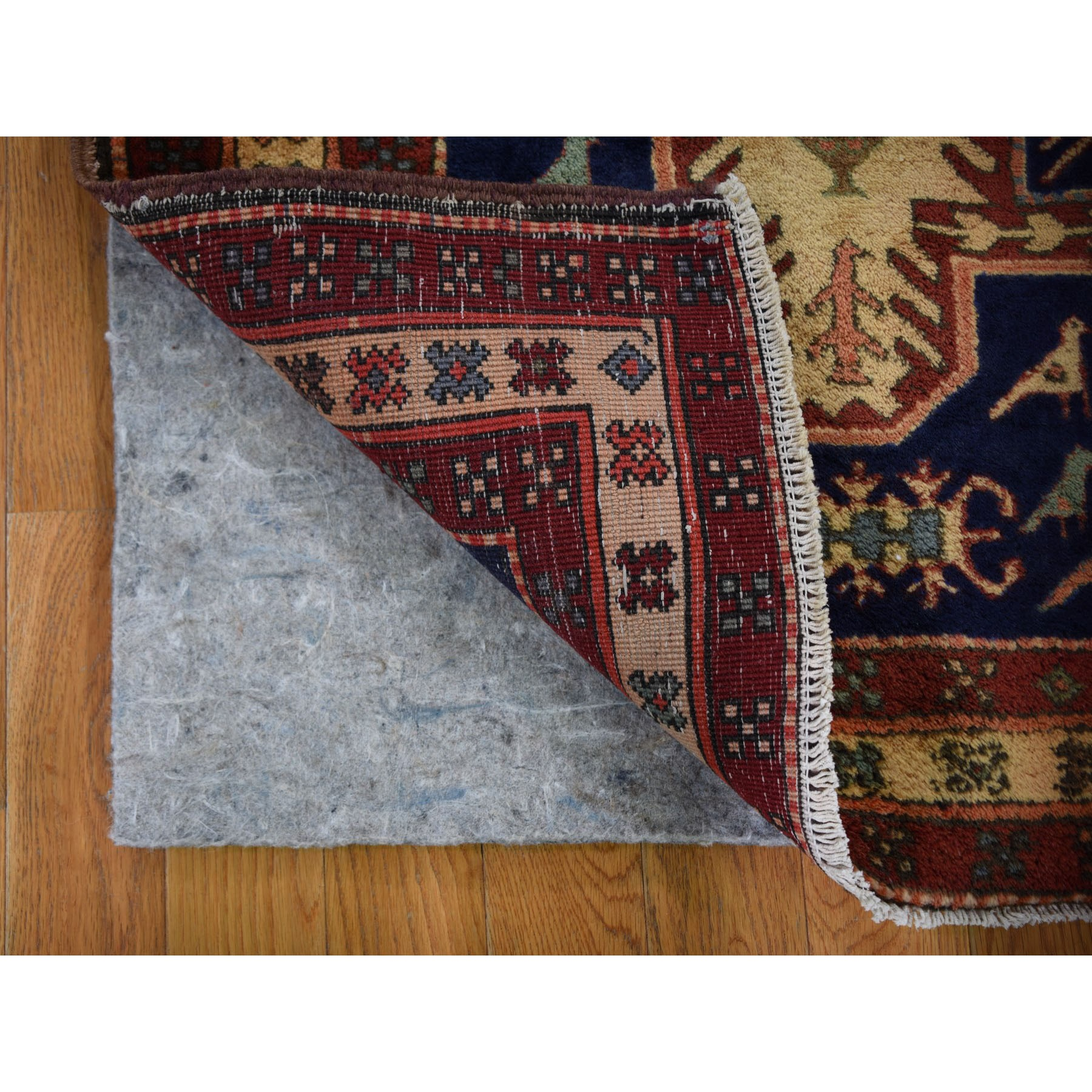 """4'3""""x10'9"""" Gallery Size Navy North West Persian With Large elements And Birds Pure Wool Oriental Rug"""