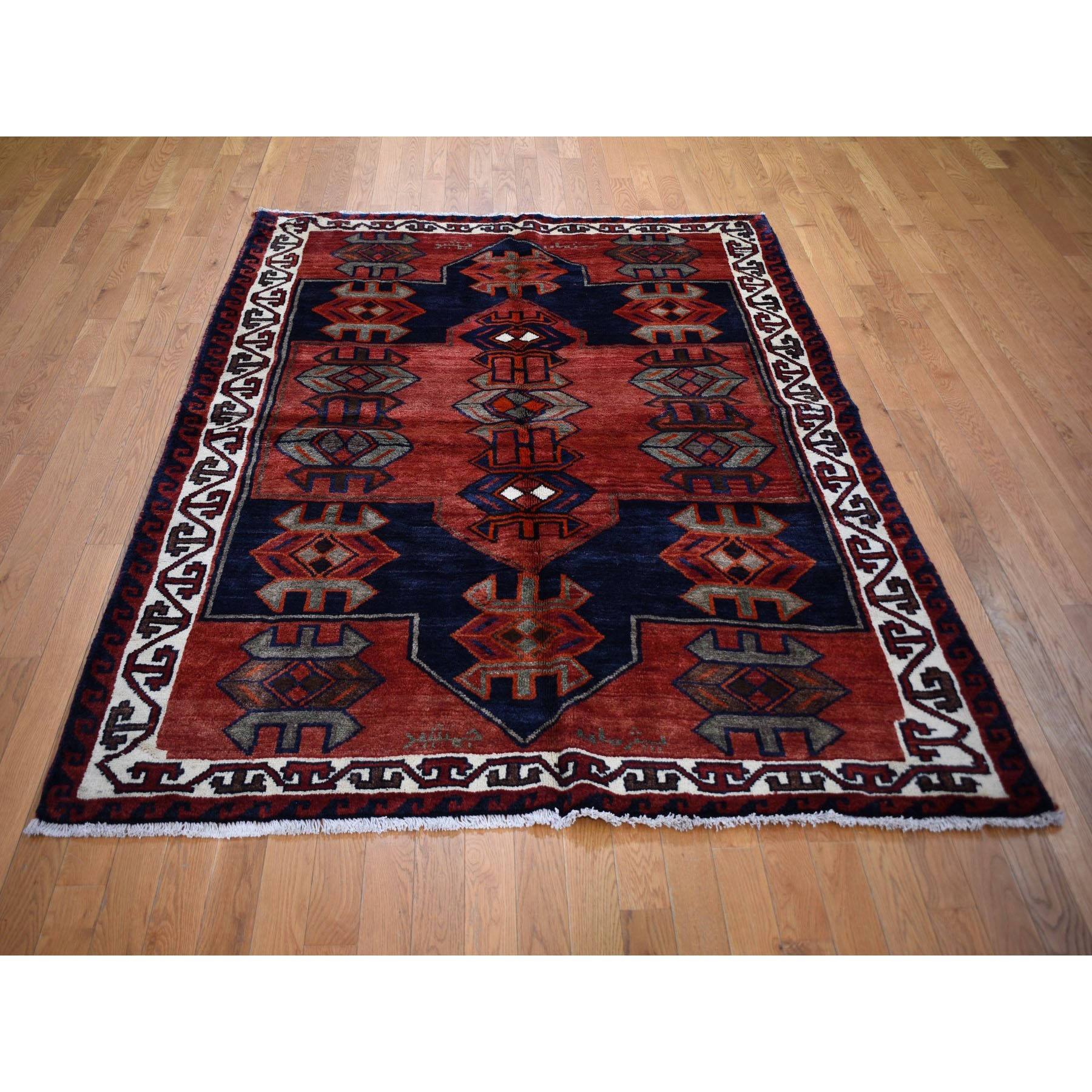 """5'7""""x7'4"""" Red New Persian Kurdish Clean Pure Wool Hand Knotted Oriental Rug"""