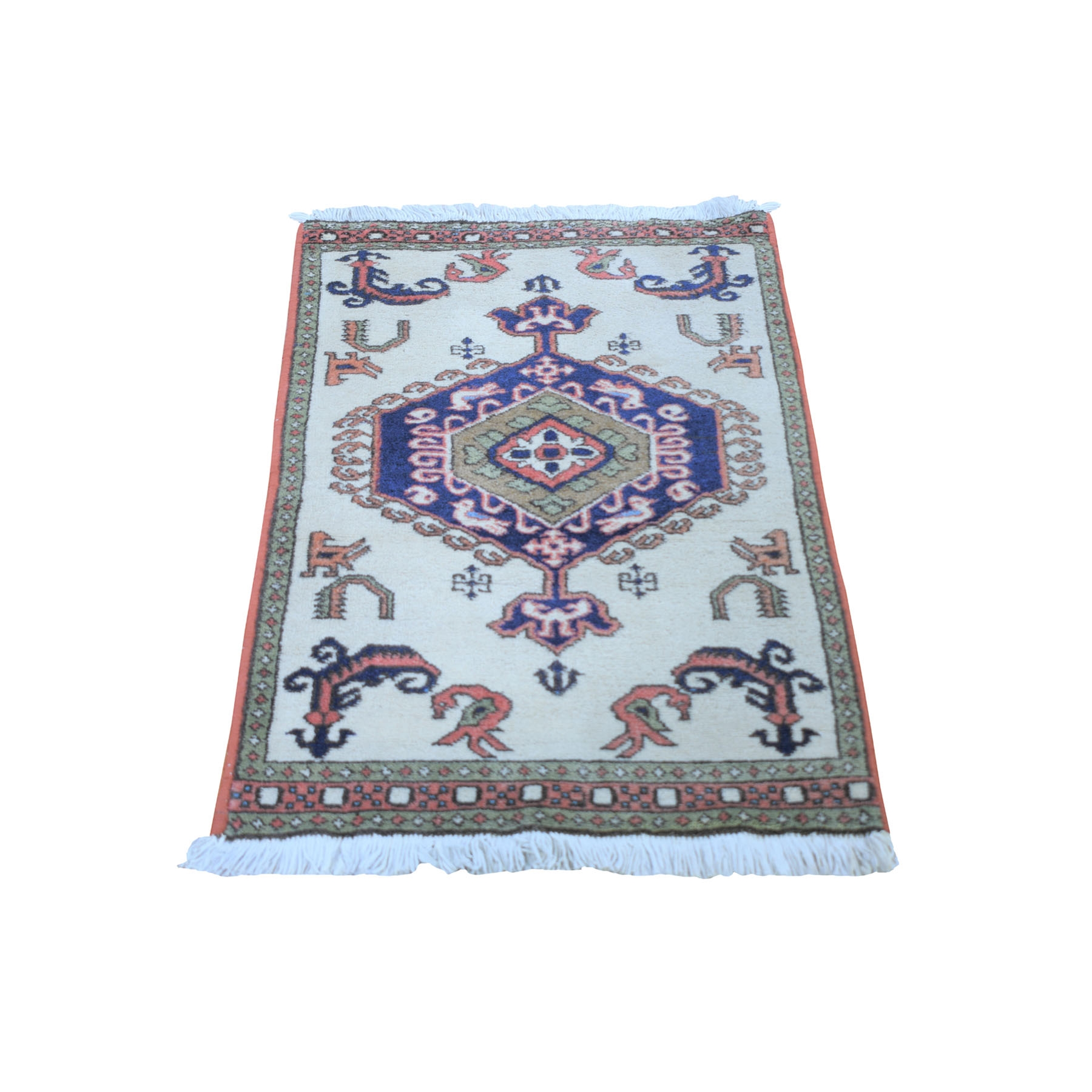 "2'4""x3'2"" Ivory Vintage Persian Ardabil With Medallion Design Pure Wool Hand Knotted Oriental Rug"