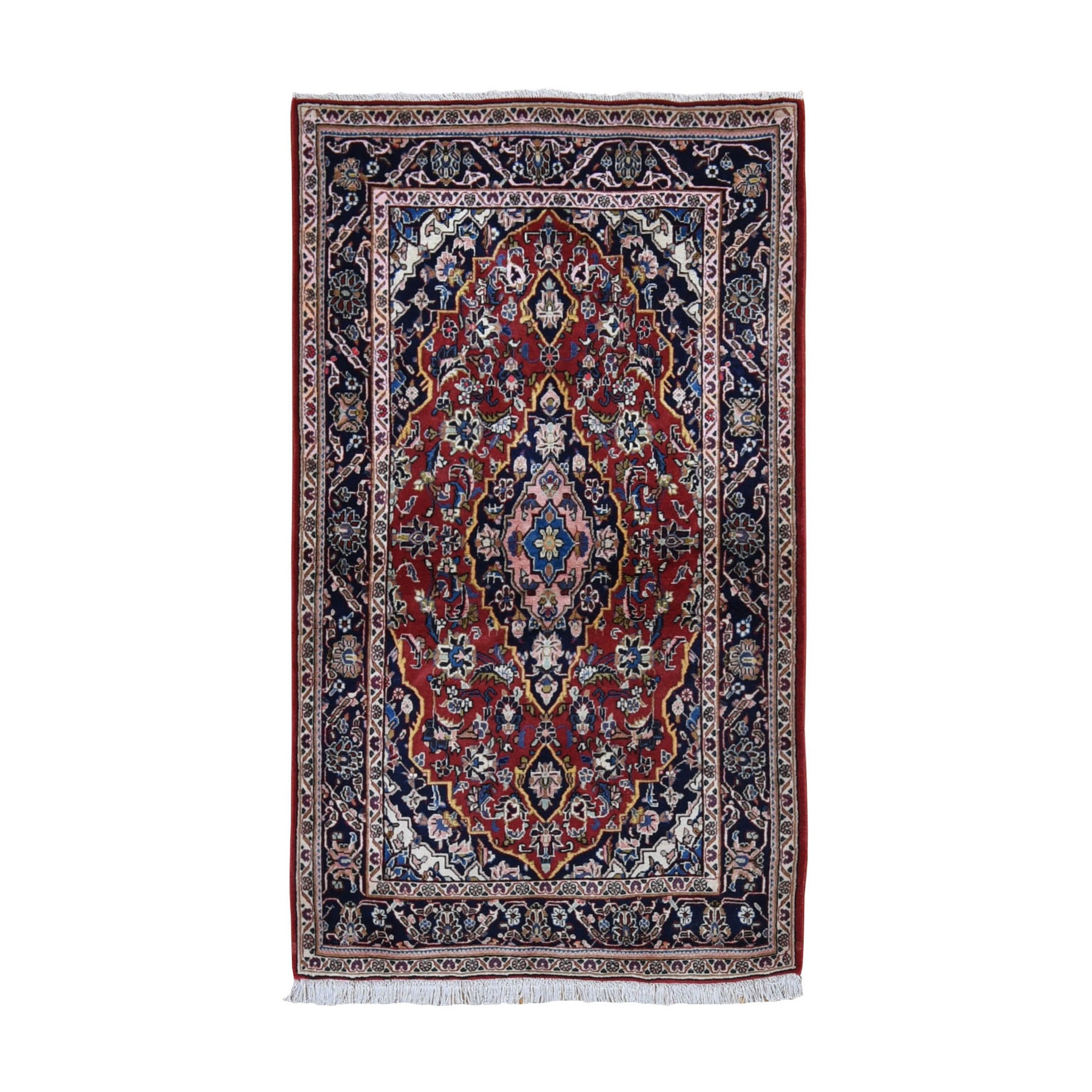 "3'6""X6'1"" Red Vintage Persian Kashan Exc Cond Full Pile Pure Wool Hand Knotted Oriental Rug moad98d0"