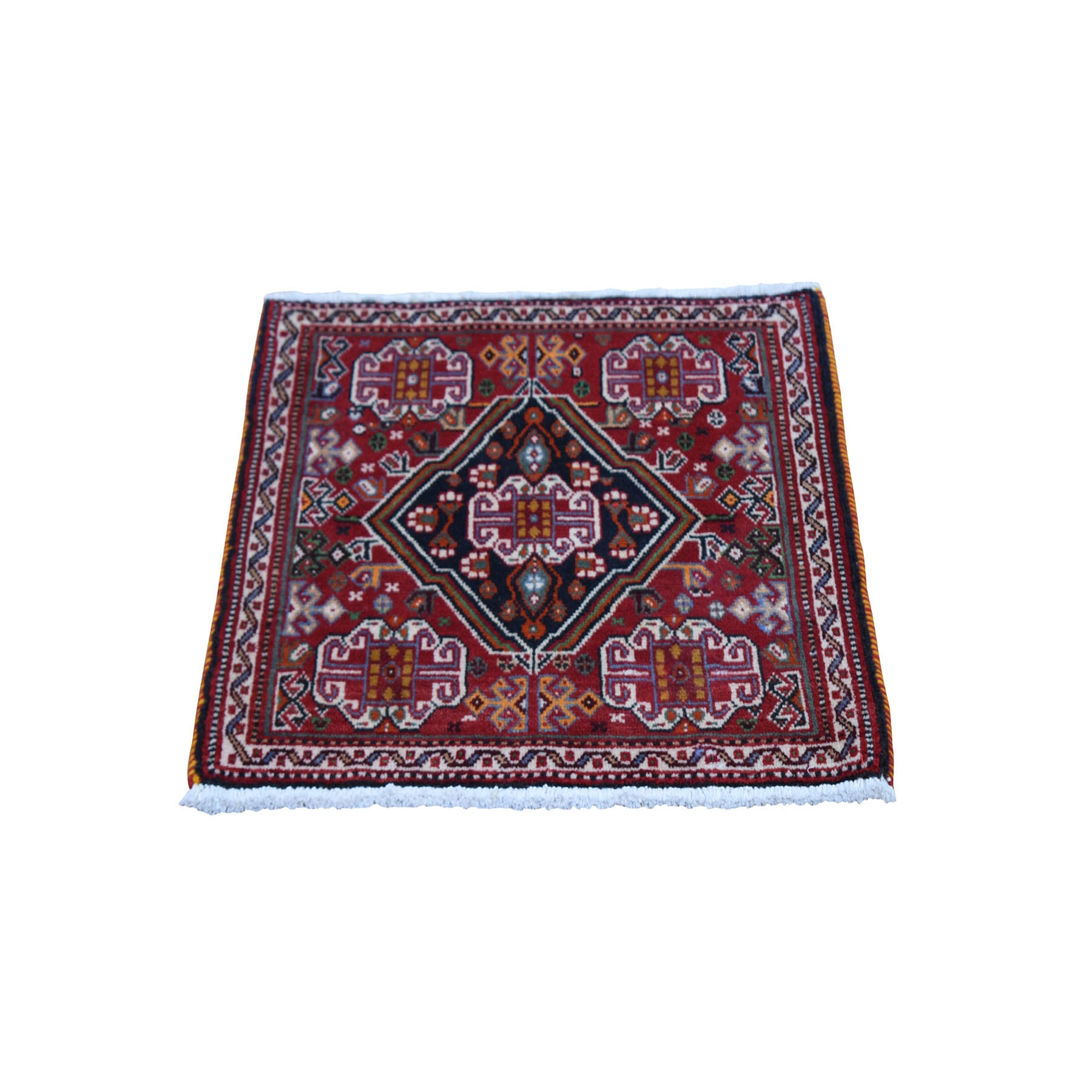 2'x2' Red Vintage Persian Qashqai Nomad Vivid Exc Condition Pure Wool Hand Knotted Little Bohemian Mat