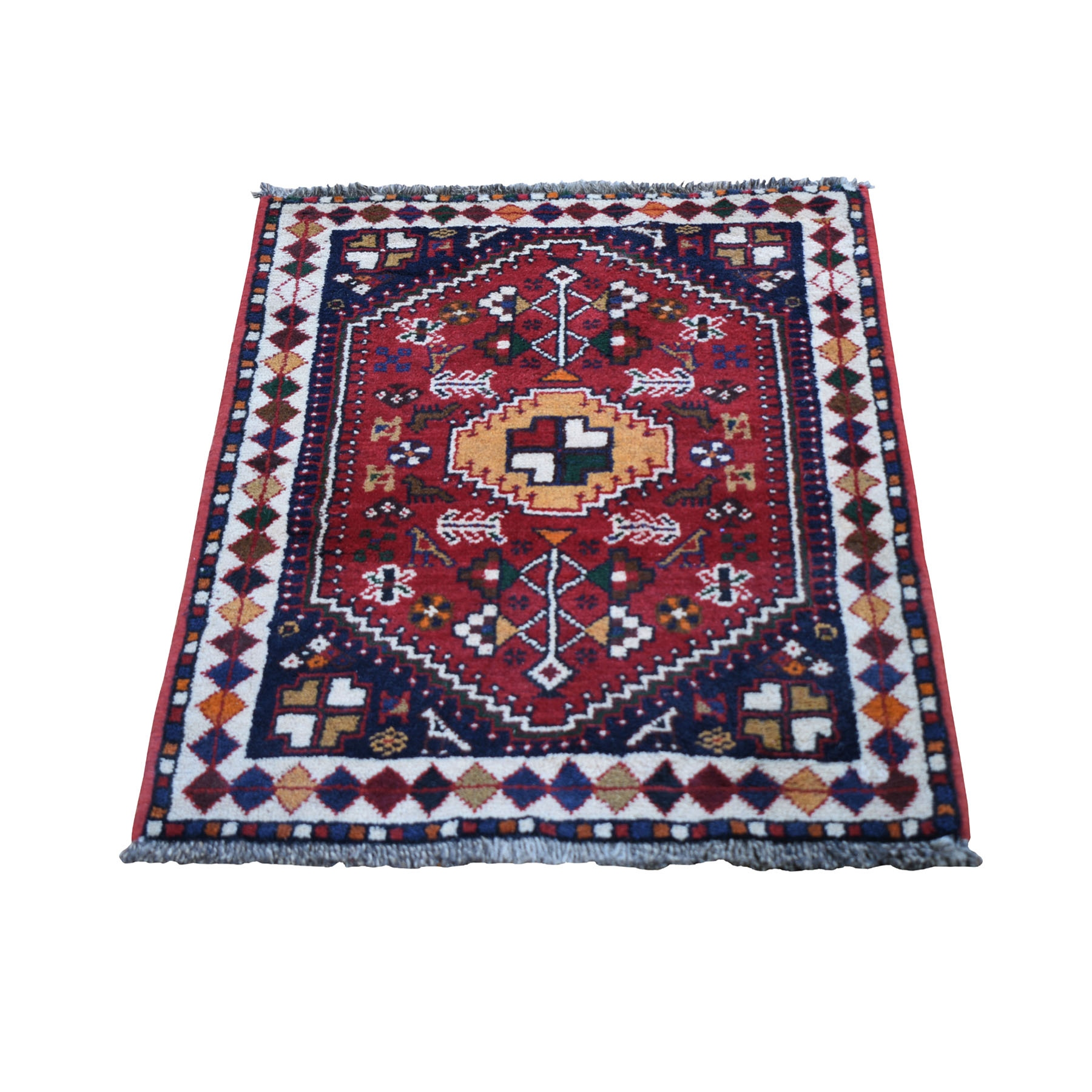 "2'3""x3' Red New Persian Shiraz With Figurines Hand Knotted Pure Wool Small Bohemian Rug"