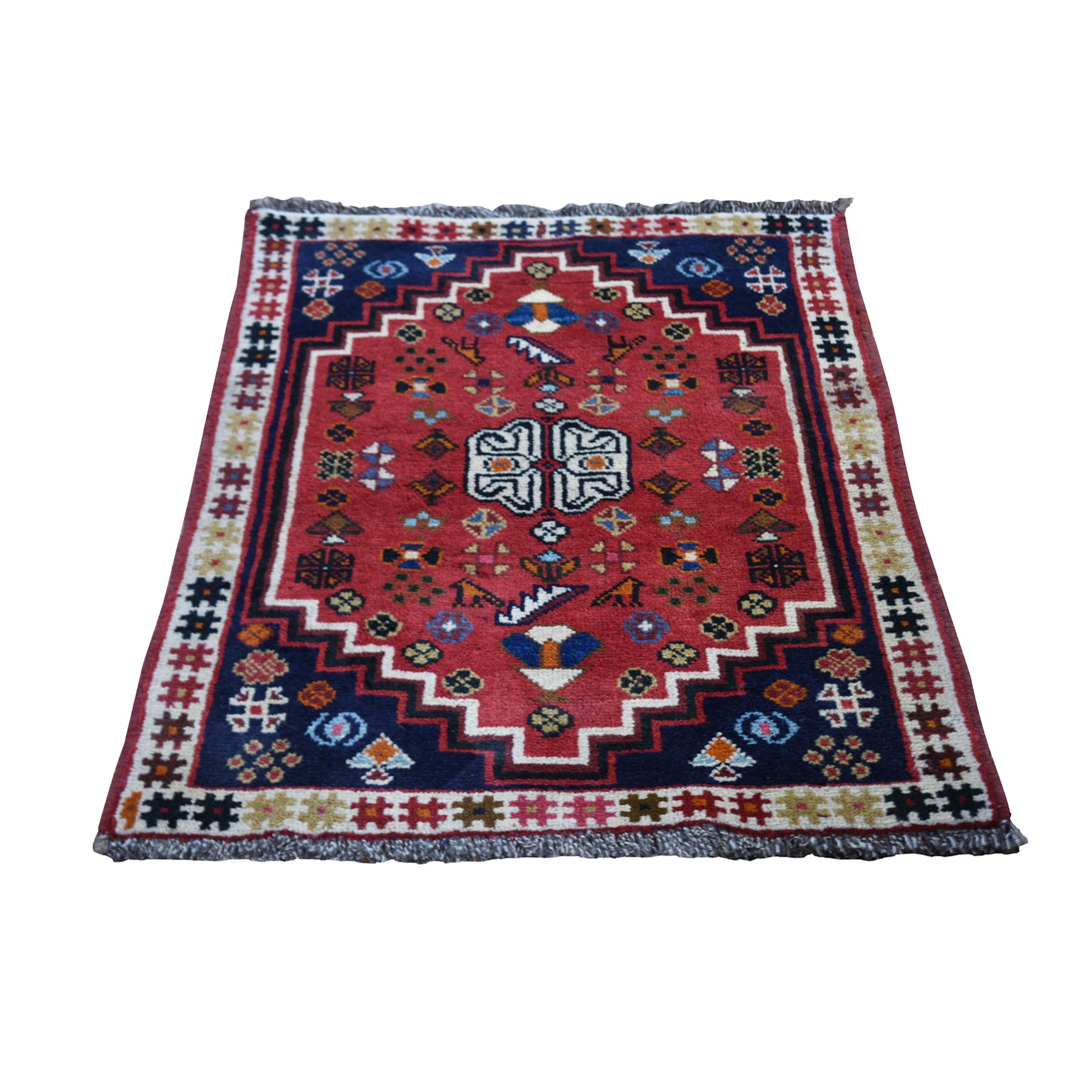 "2'4""x3'3"" Red New Persian Shiraz With Figurines Nomad Vivid Hand Knotted Pure Wool Small Rug"
