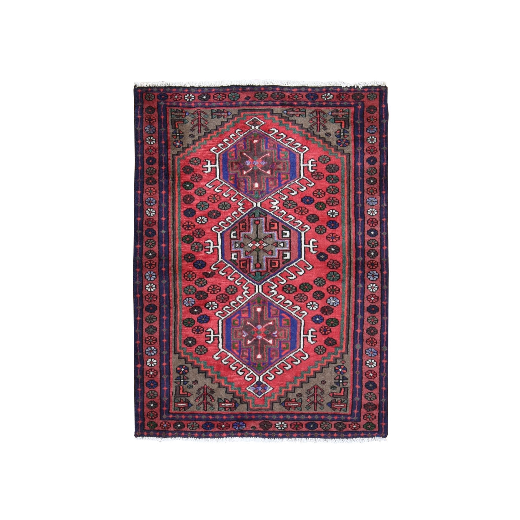 "3'5""x4'9"" Red New Persian Karajeh Geometric Design pure Wool Hand Knotted Bohemian Rug"