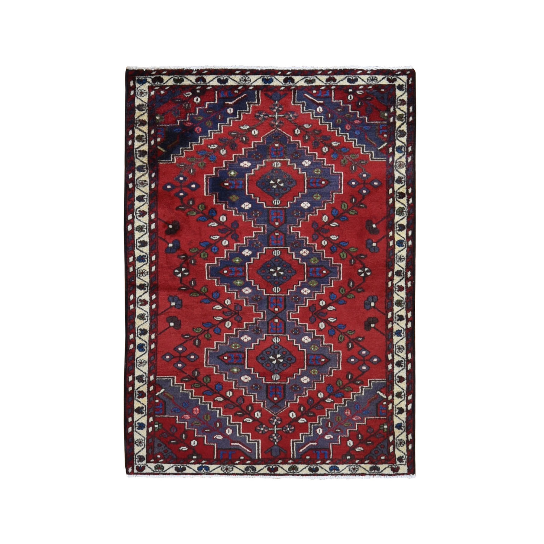 "3'5""x5' Red New Persian Pure Wool Tribal Design Hand Knotted Bohemian Rug"