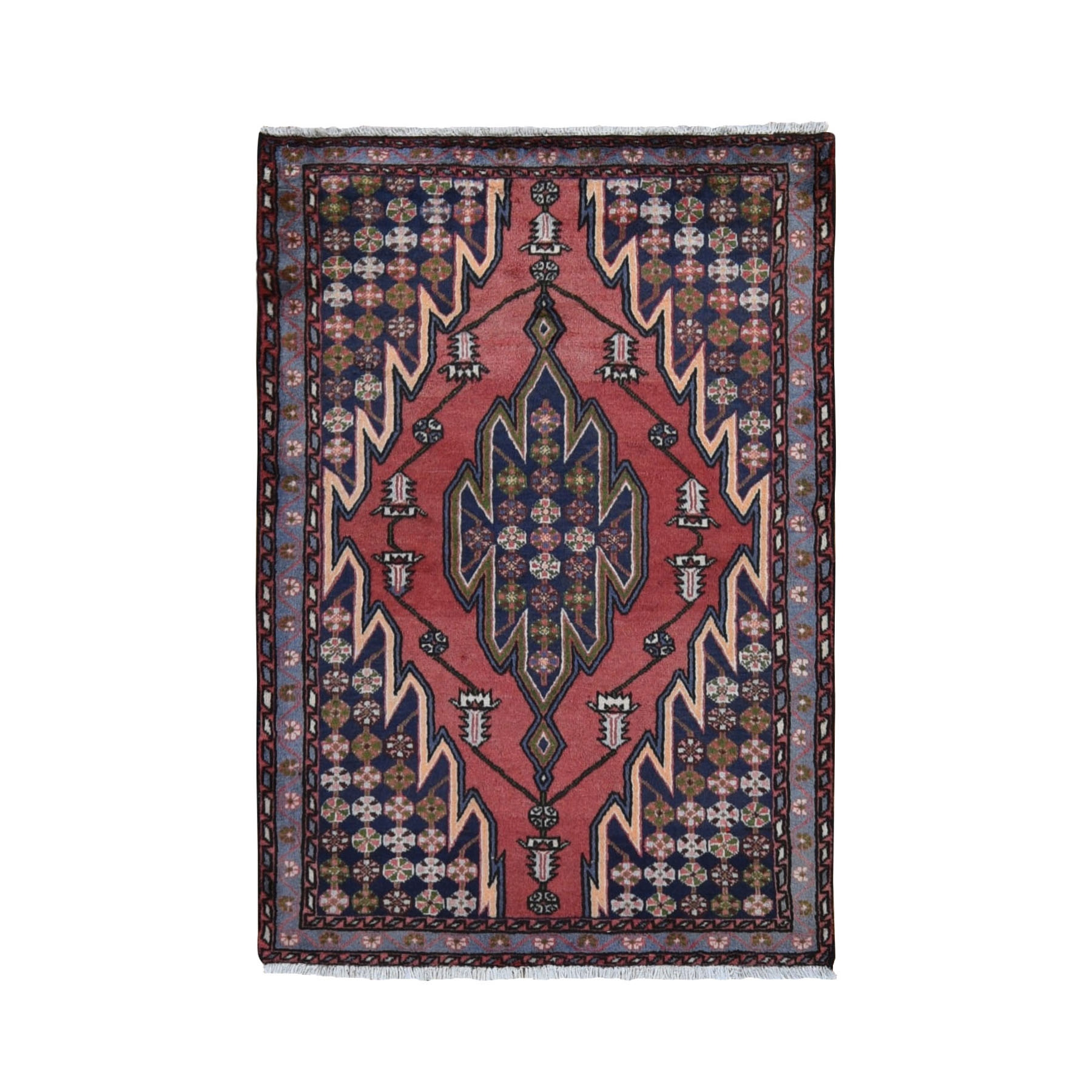 "3'5""X5' Red New Persian Mazlagan With Interesting Design Pure Wool Hand Knotted Oriental Rug moad98e0"