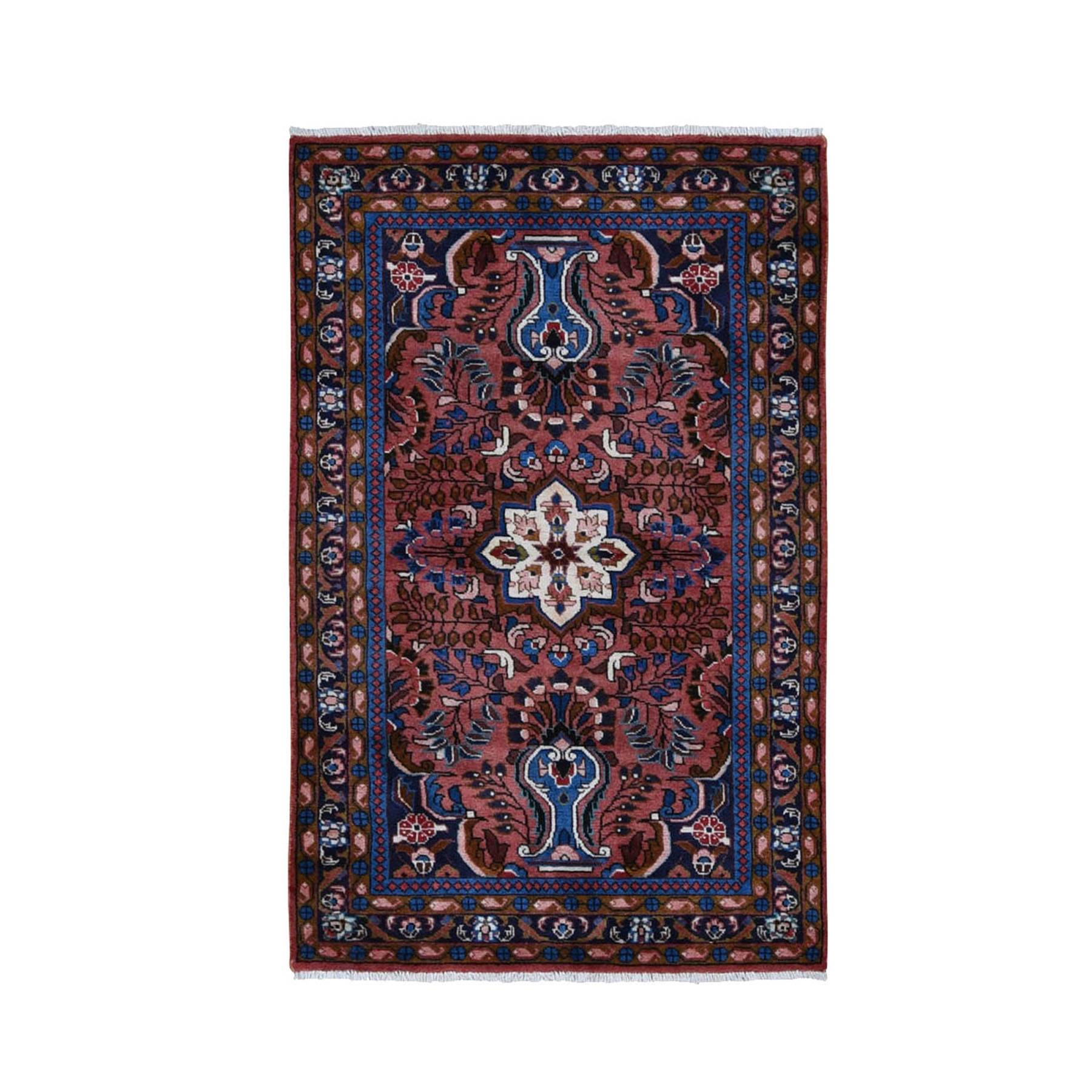 "3'8""X5'10"" Red New Persian Bohemian Lilahan Pure Wool Hand Knotted Oriental Rug moad98ea"