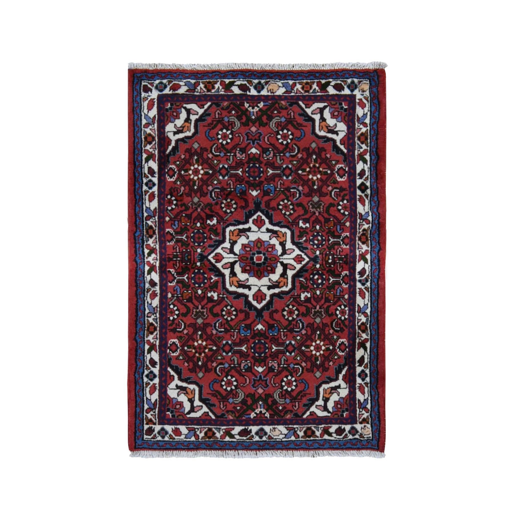 "3'4""X5' Red New Persian Hamadan Fish Design Pure Wool Hand Knotted Bohemian Rug moad98eb"