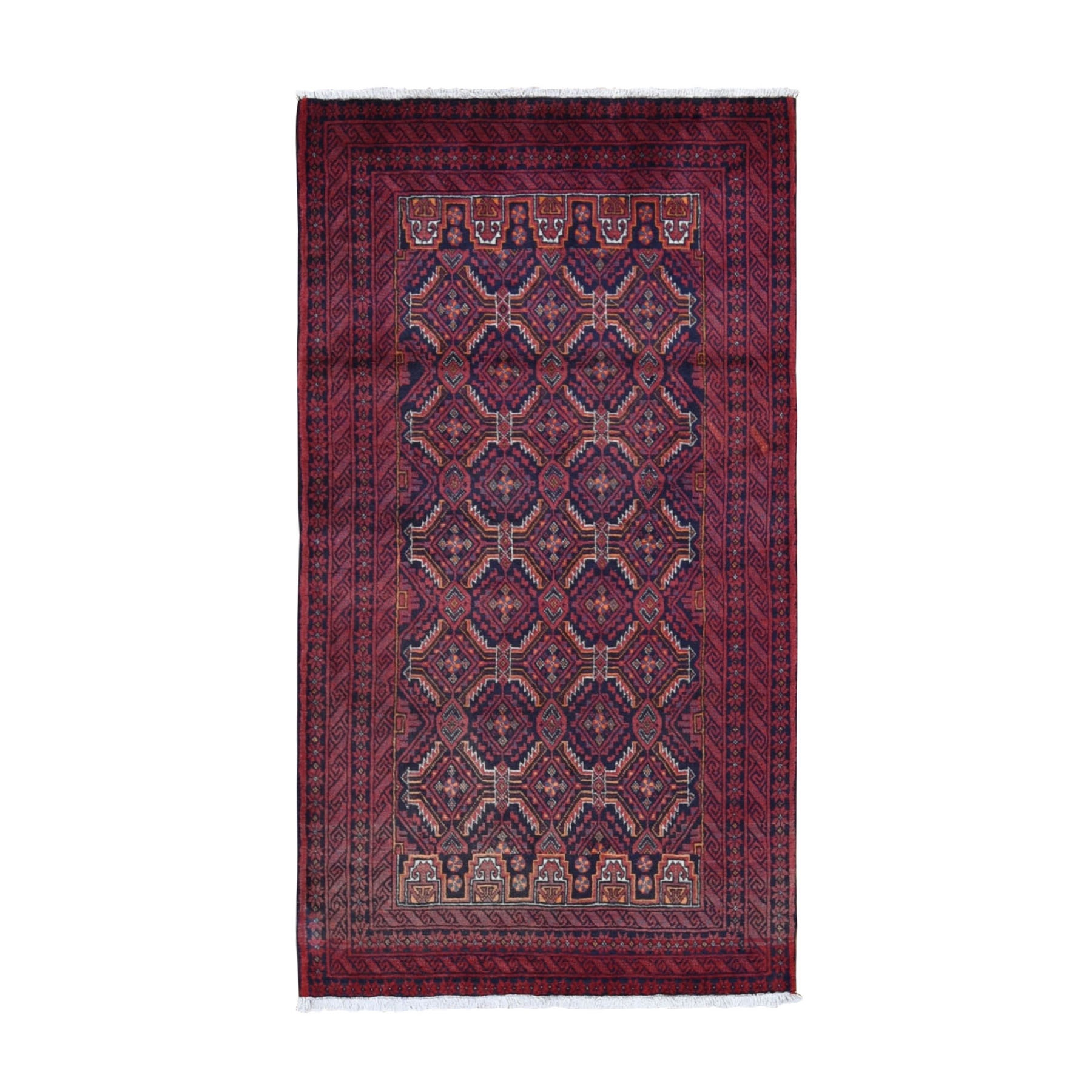 "3'3""X6'1"" Red Vintage Persian Baluch Tribal Design Pure Wool Hand Knotted Oriental Rug moad98ec"
