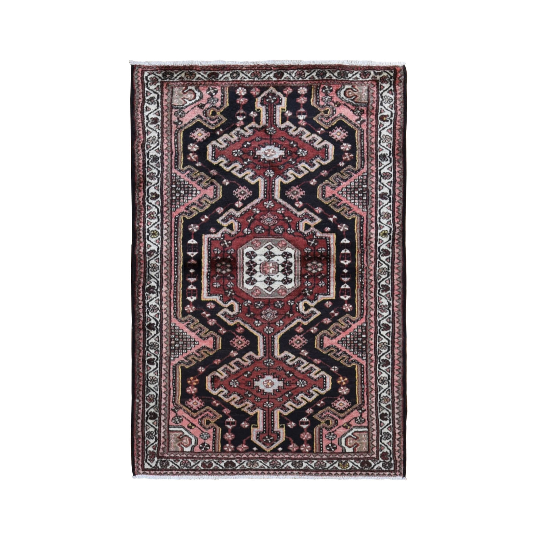 "3'5""x5'2"" Black Vintage Persian Hamadan Pure Wool Hand Knotted Bohemian Rug"