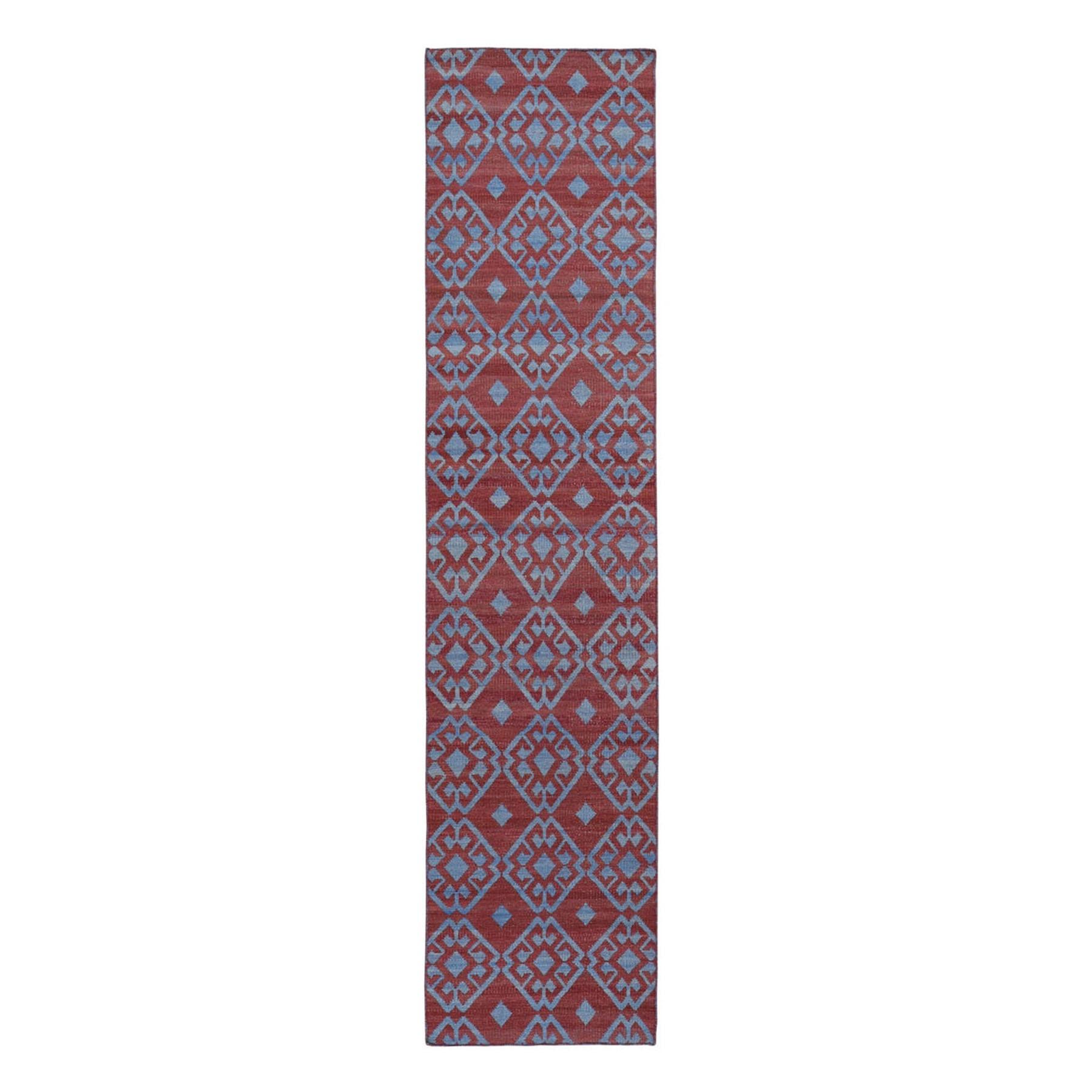 "2'6""x11'8"" Hand Woven Flat Weave Pure Wool Reversible Kilim Runner Oriental Rug"