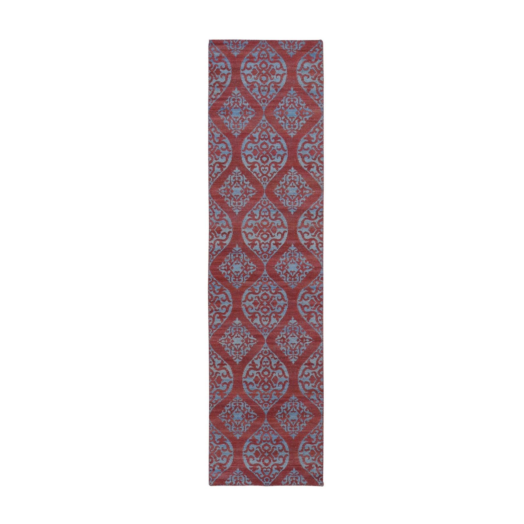 "2'6""x9'1"" Hand Woven Flat Weave Pure Wool Reversible Kilim Runner Oriental Rug"