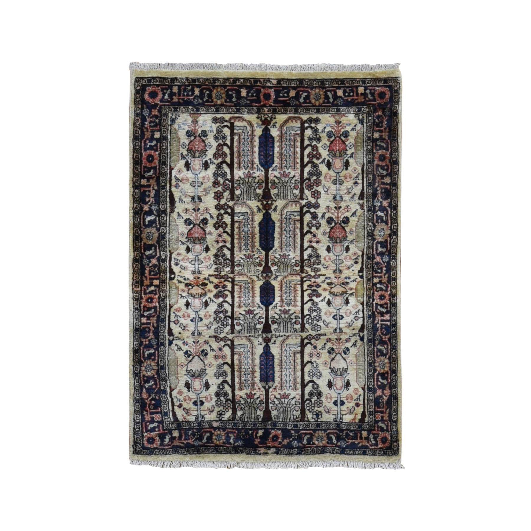 "3'1""x4'8"" Ivory New Persian Hamadan With Willow Tree Design Clean Pure Wool Hand Knotted Bohemian Rug"